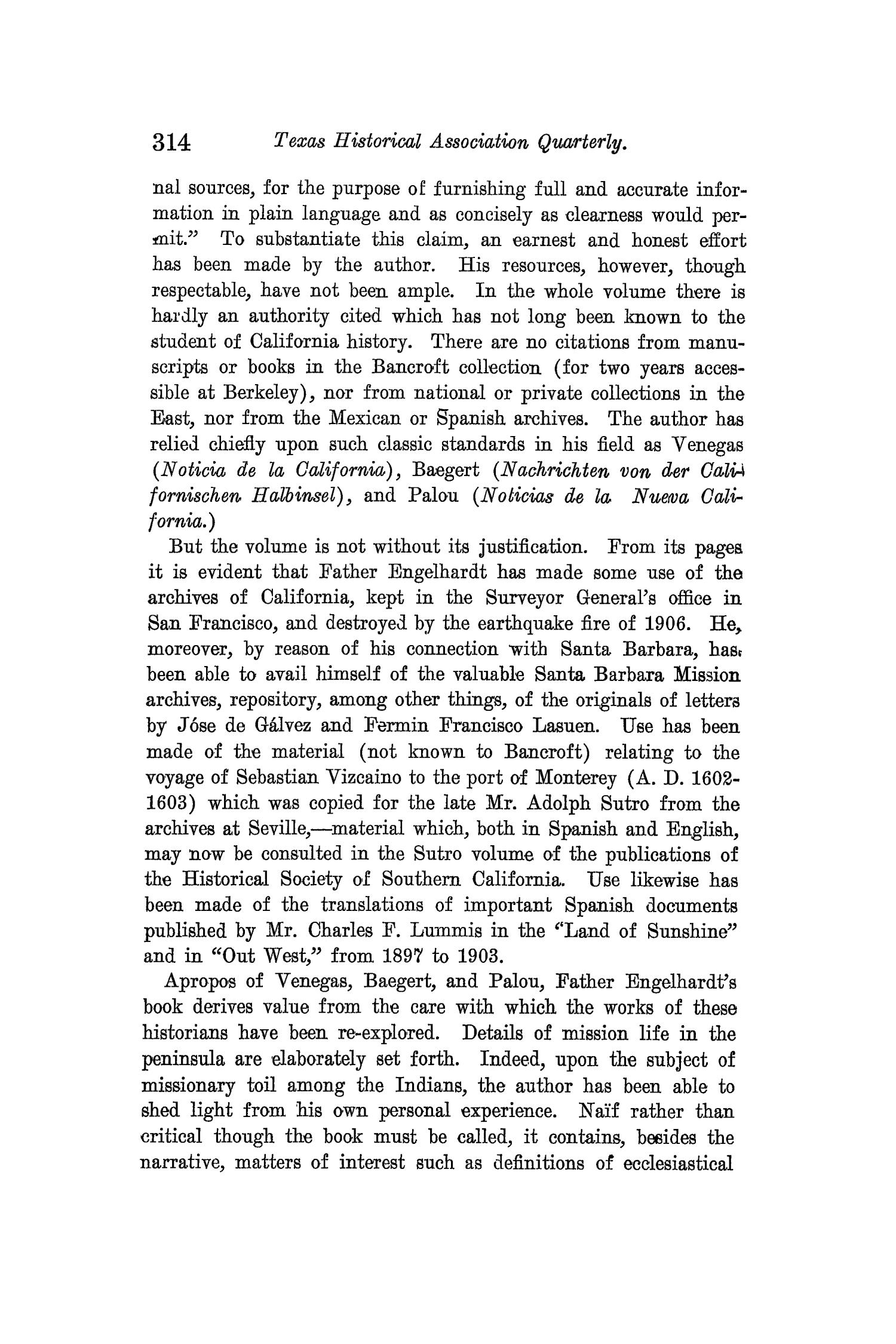 The Quarterly of the Texas State Historical Association, Volume 12, July 1908 - April, 1909                                                                                                      314