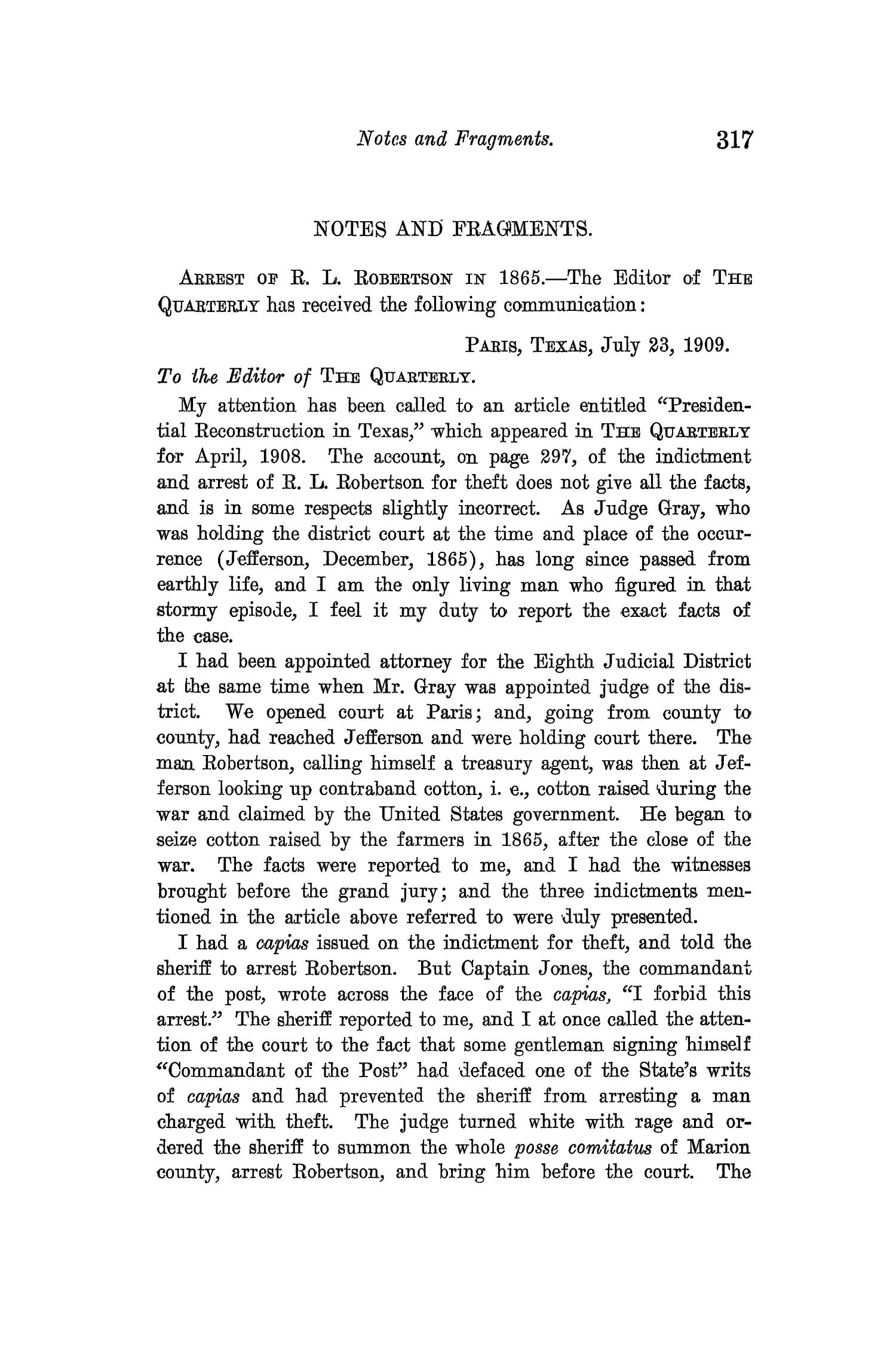 The Quarterly of the Texas State Historical Association, Volume 12, July 1908 - April, 1909                                                                                                      317