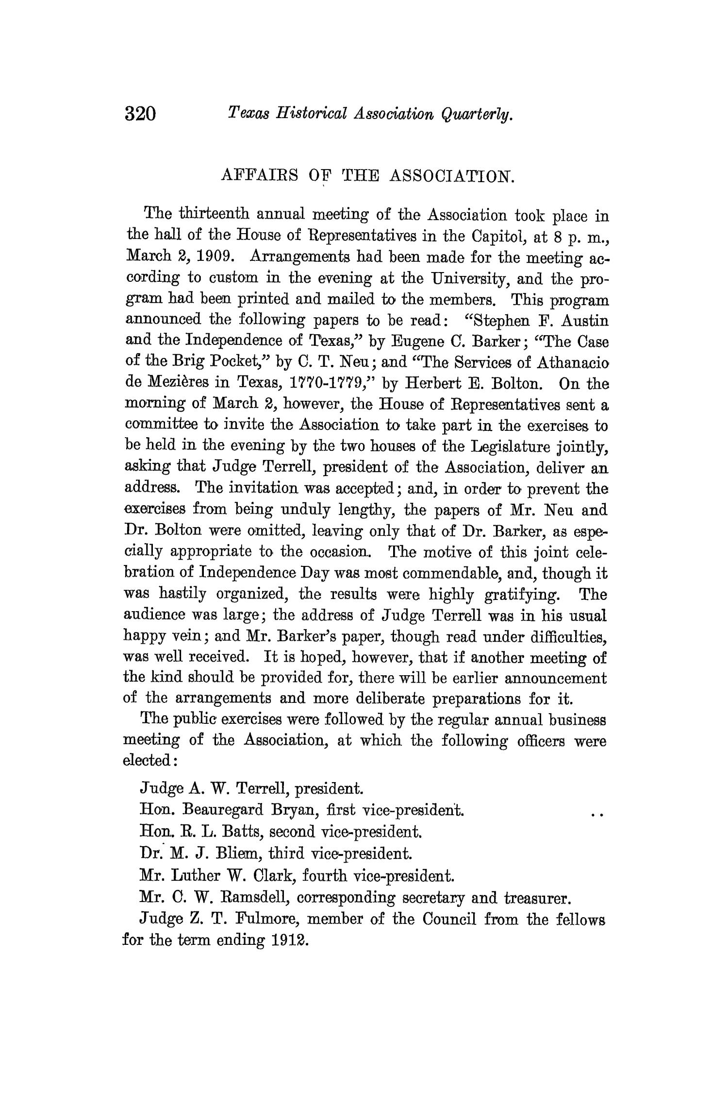 The Quarterly of the Texas State Historical Association, Volume 12, July 1908 - April, 1909                                                                                                      320
