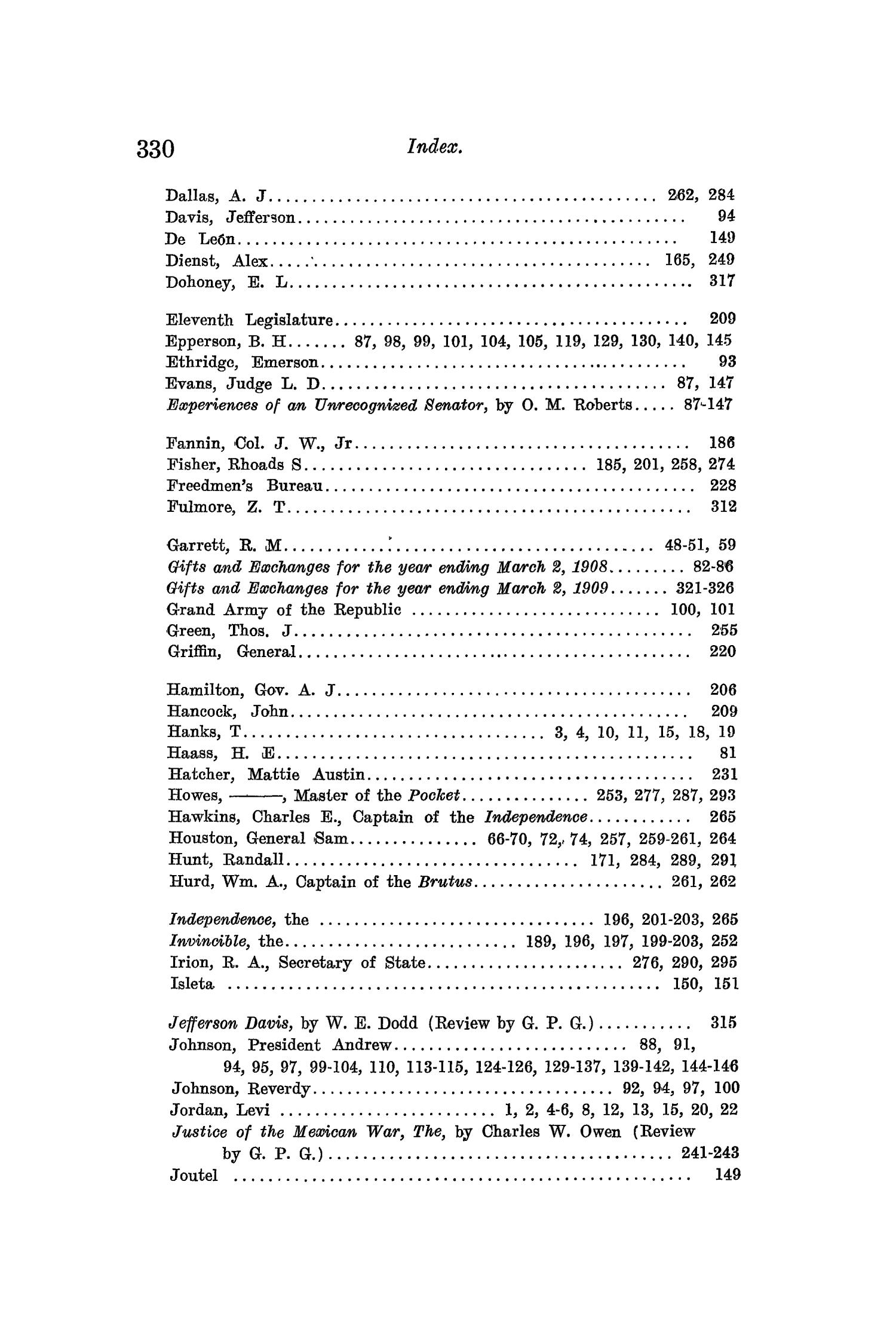 The Quarterly of the Texas State Historical Association, Volume 12, July 1908 - April, 1909                                                                                                      330