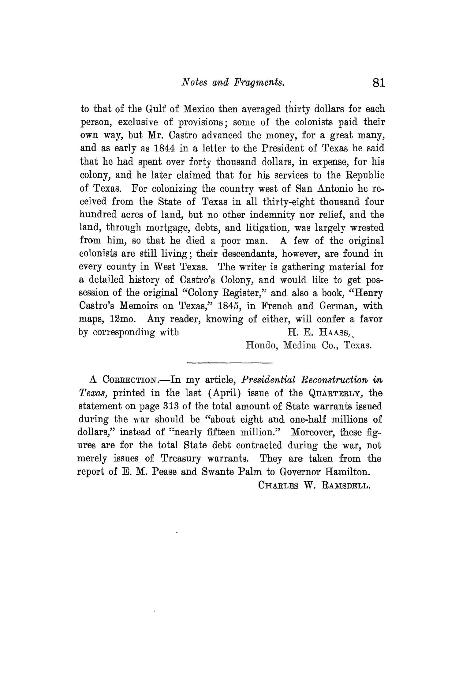 The Quarterly of the Texas State Historical Association, Volume 12, July 1908 - April, 1909                                                                                                      81