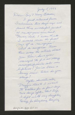 Primary view of object titled '[Letter from Elaine Harmon to Rigdon and Mary Emma Edwards, July 5, 1993]'.