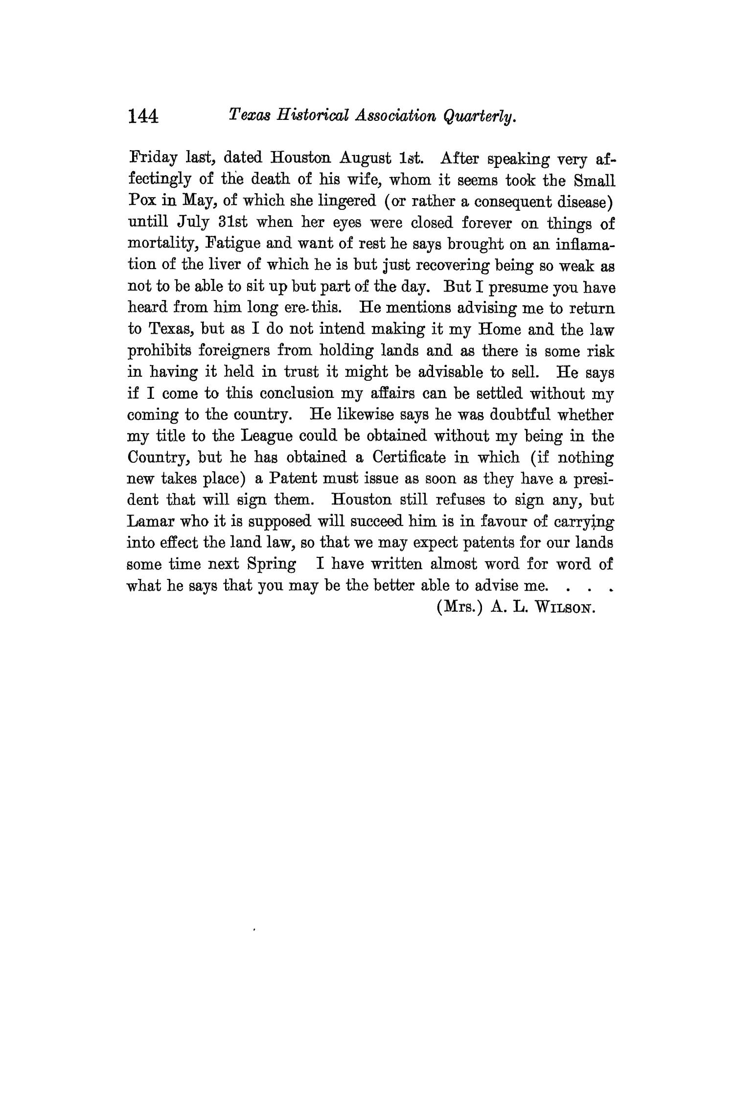 The Quarterly of the Texas State Historical Association, Volume 13, July 1909 - April, 1910                                                                                                      144