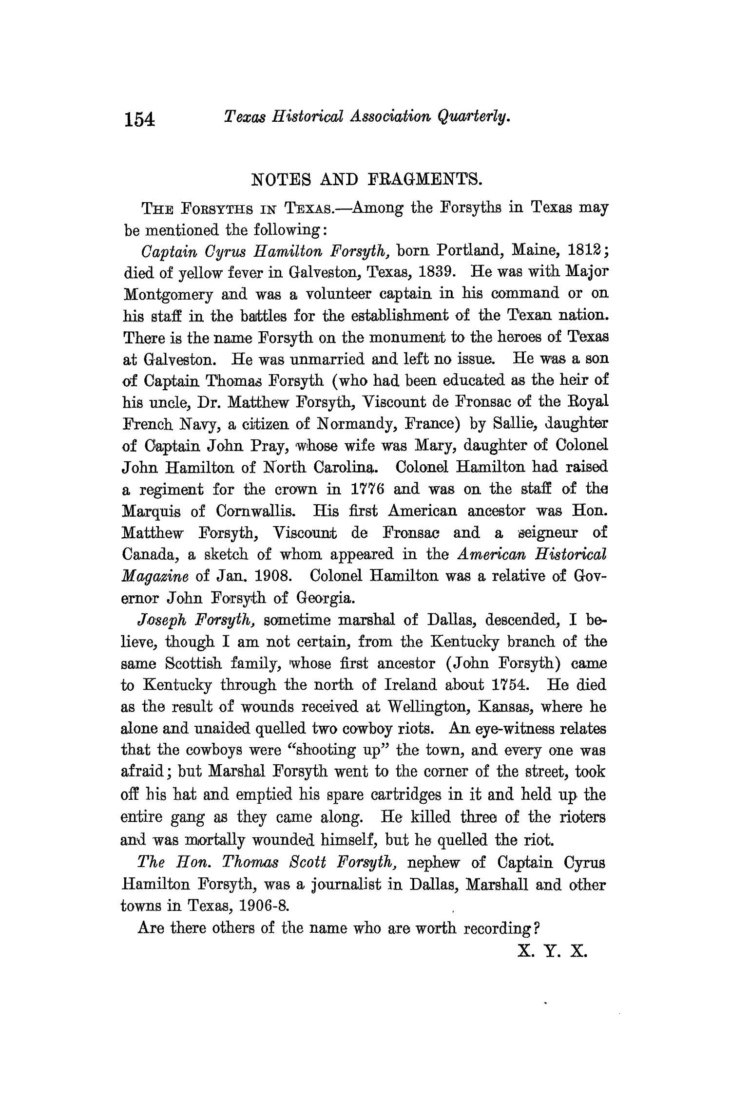 The Quarterly of the Texas State Historical Association, Volume 13, July 1909 - April, 1910                                                                                                      154