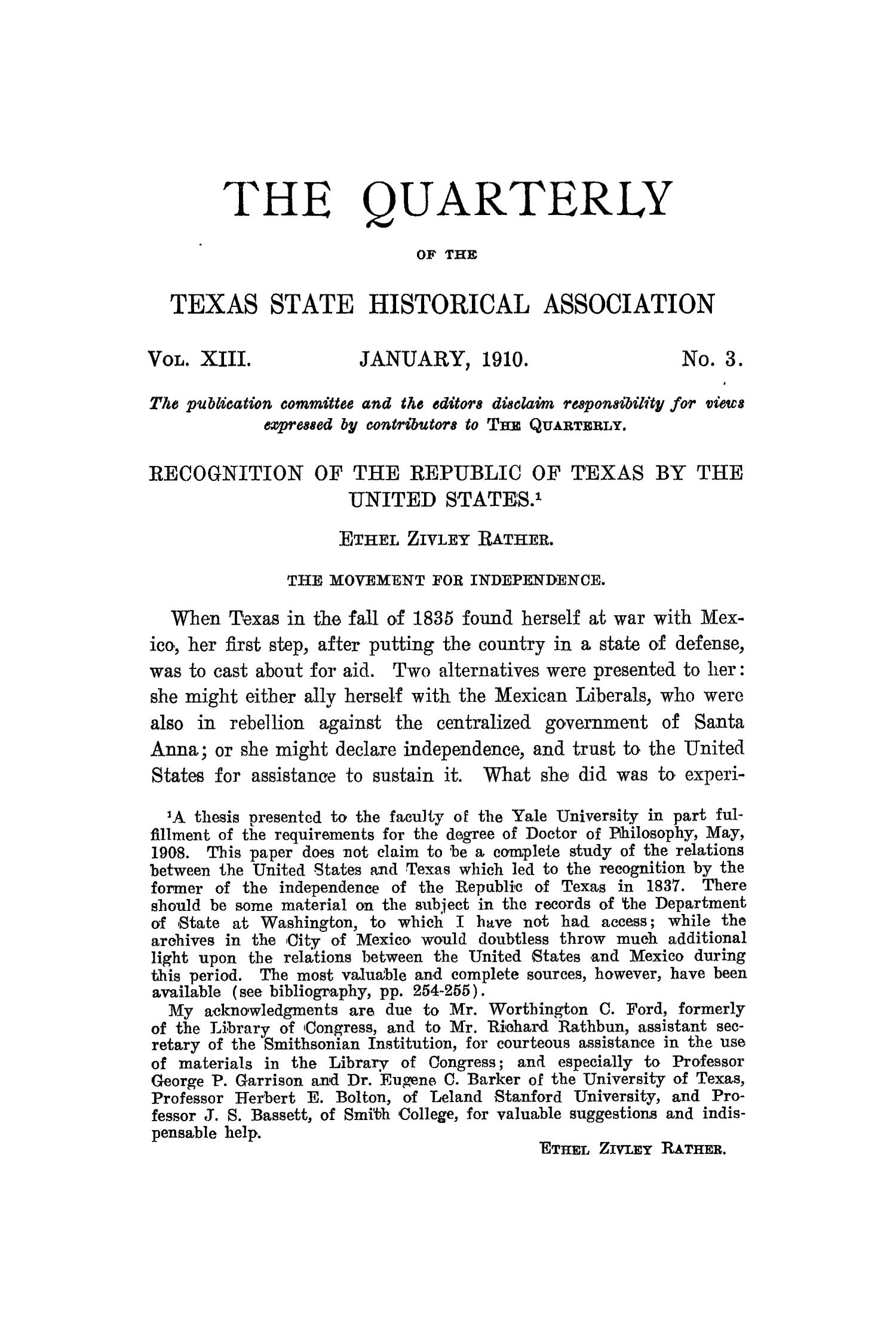 The Quarterly of the Texas State Historical Association, Volume 13, July 1909 - April, 1910                                                                                                      155
