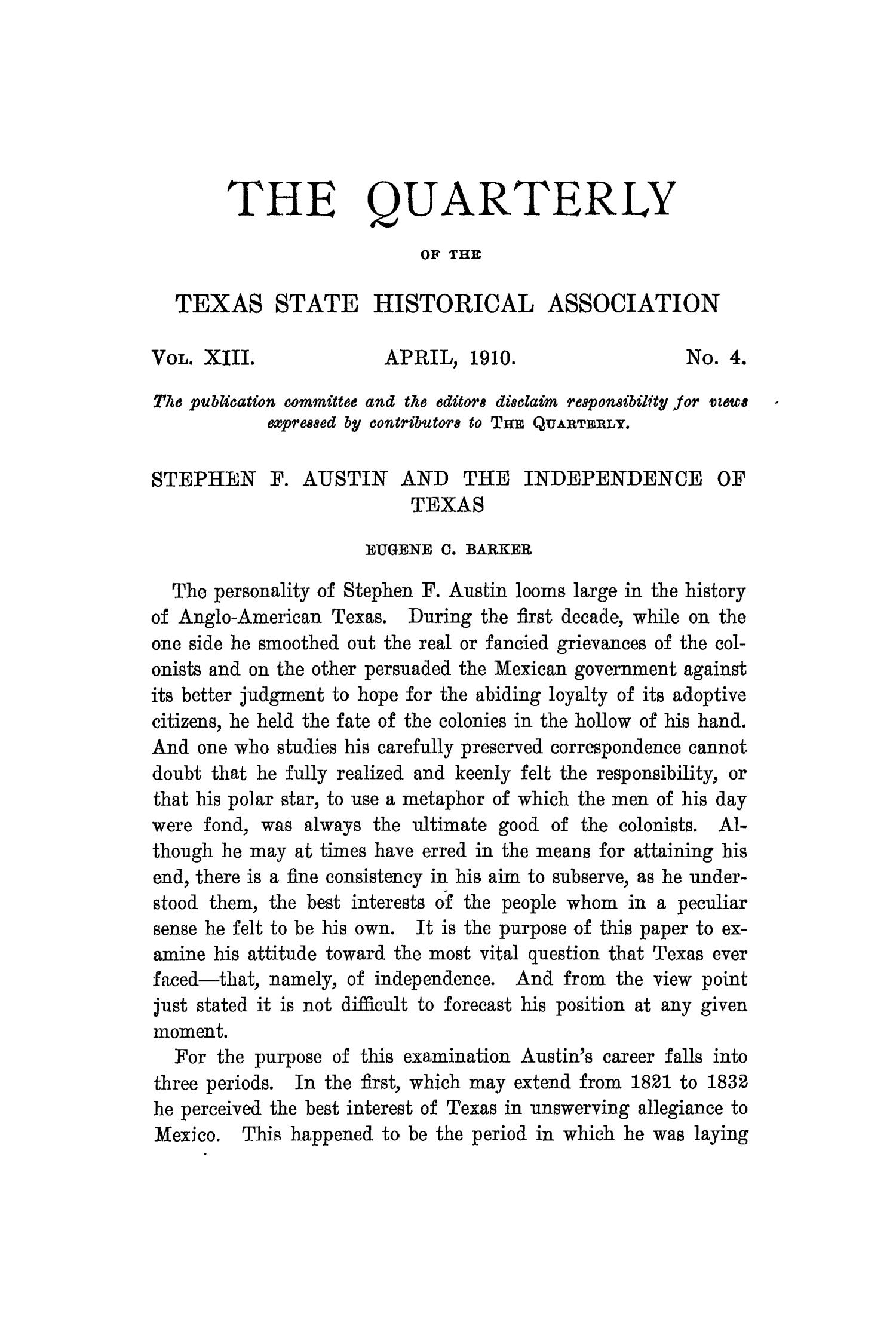 The Quarterly of the Texas State Historical Association, Volume 13, July 1909 - April, 1910                                                                                                      257