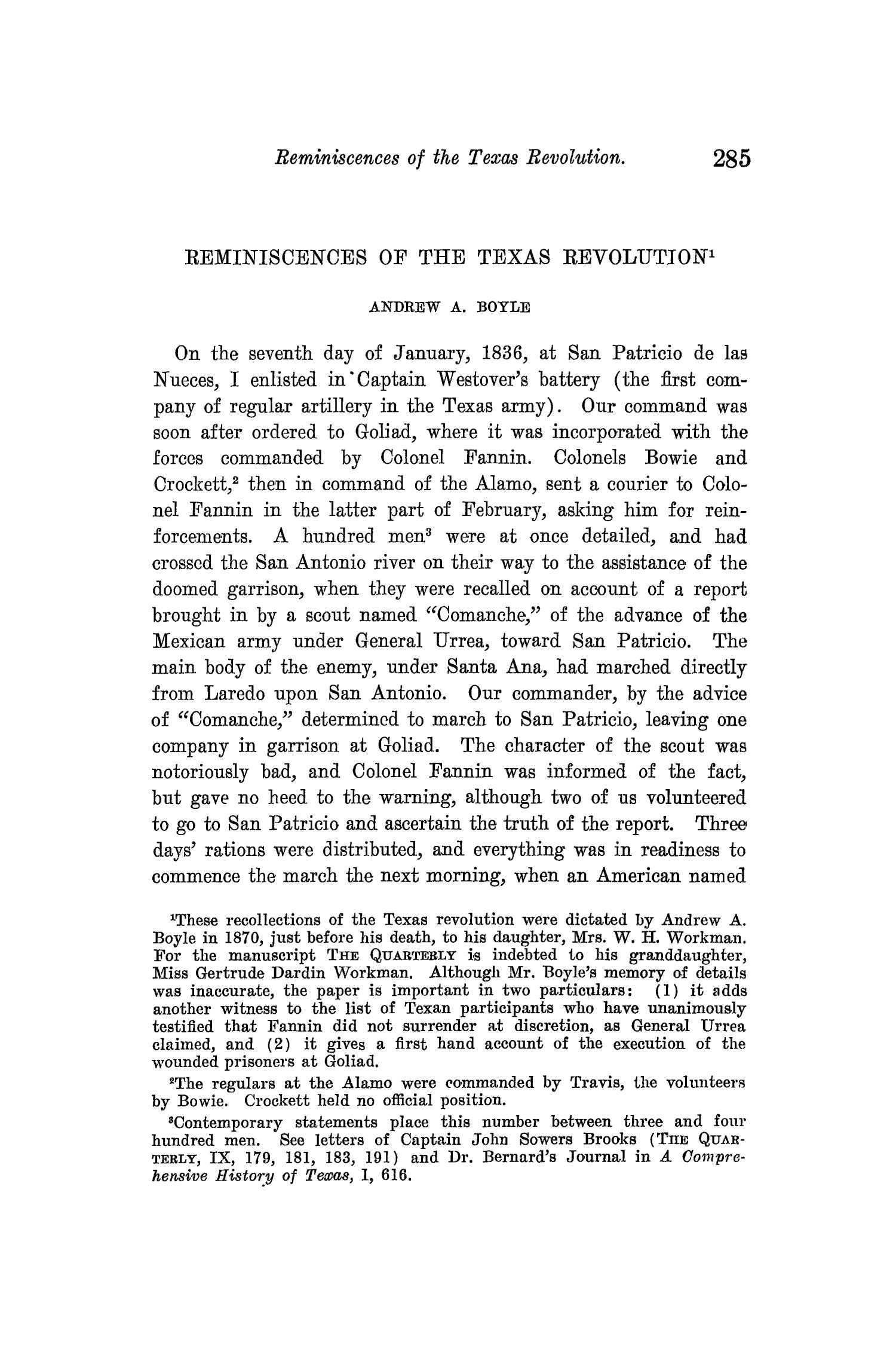The Quarterly of the Texas State Historical Association, Volume 13, July 1909 - April, 1910                                                                                                      285