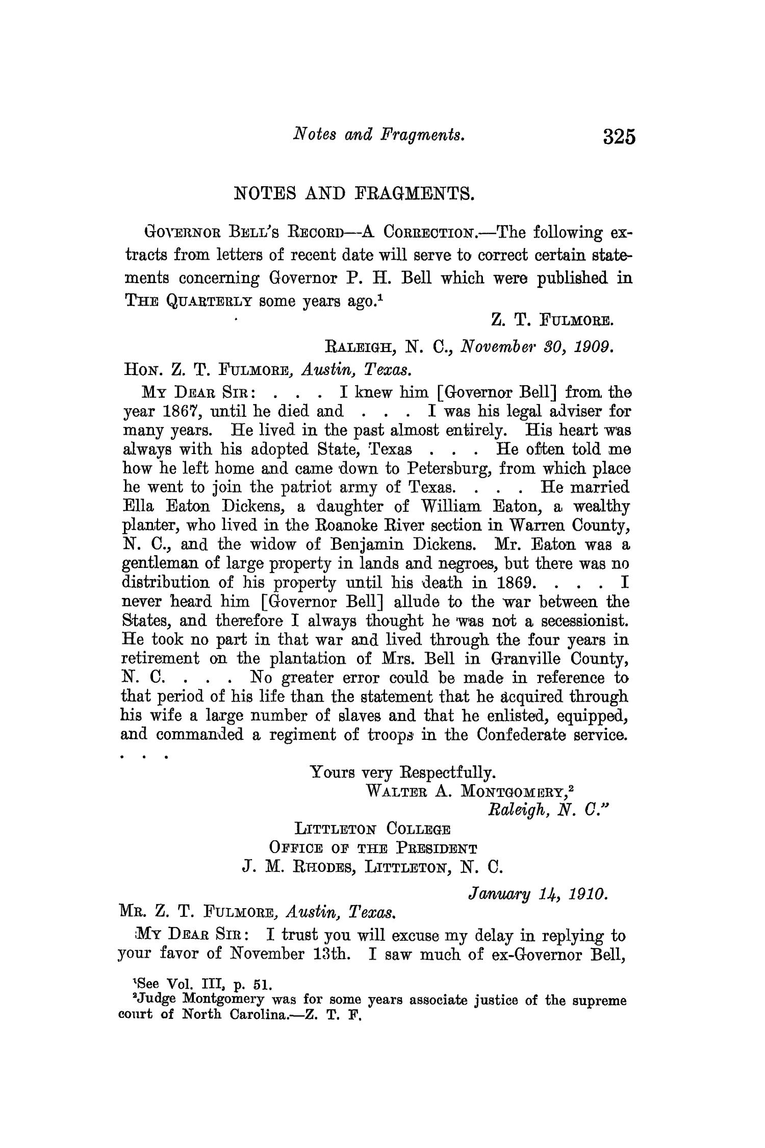 The Quarterly of the Texas State Historical Association, Volume 13, July 1909 - April, 1910                                                                                                      325