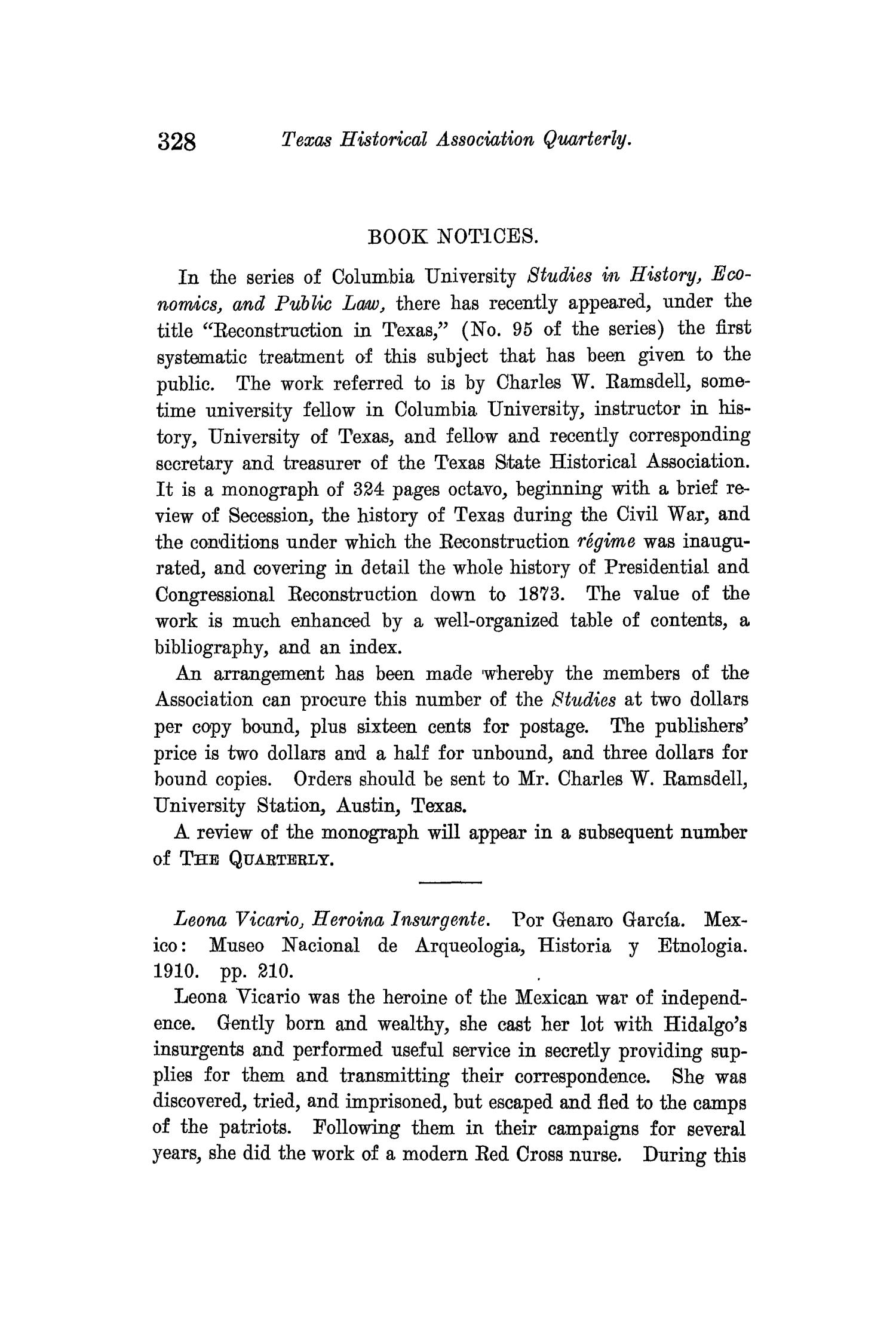 The Quarterly of the Texas State Historical Association, Volume 13, July 1909 - April, 1910                                                                                                      328