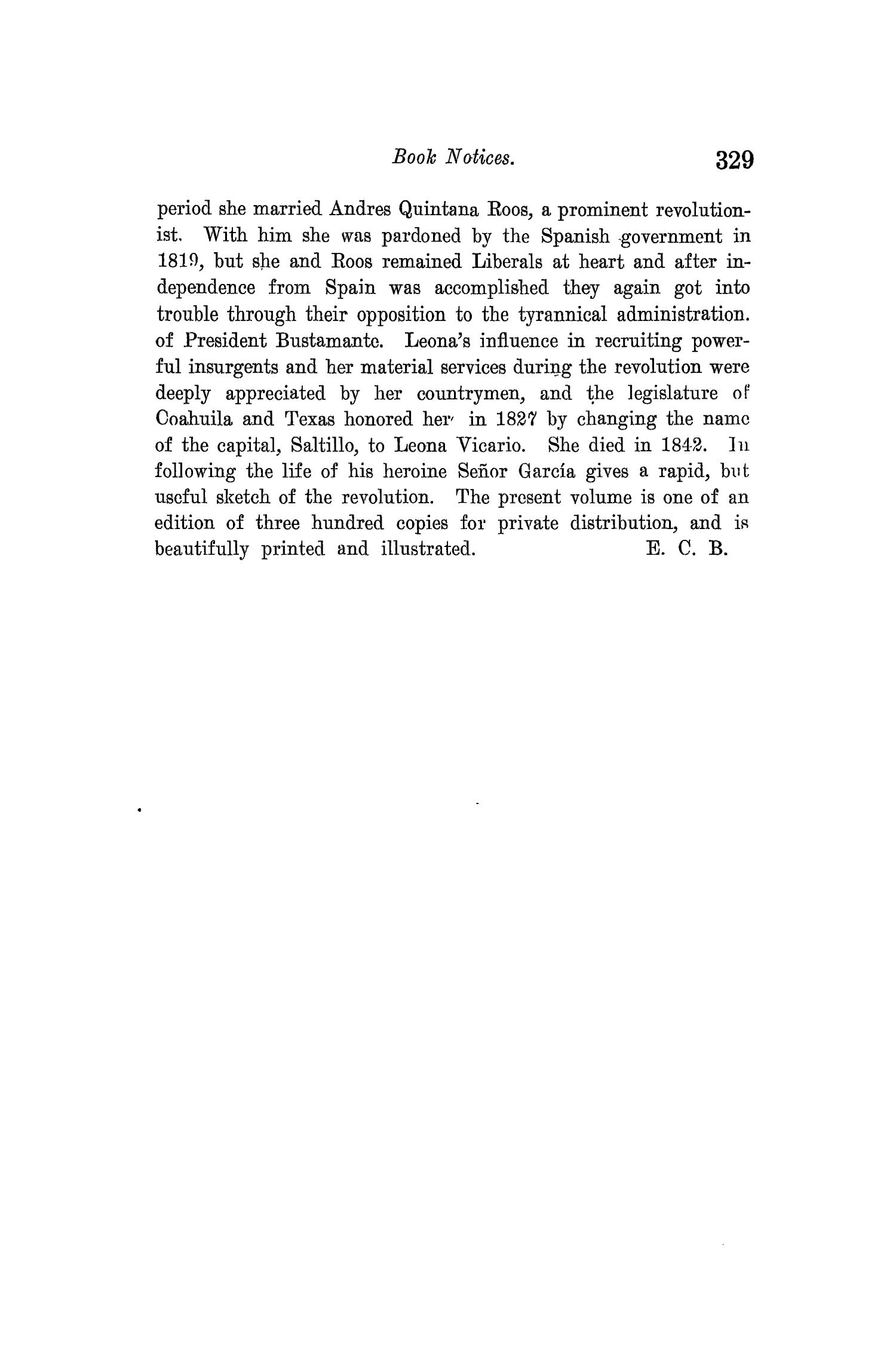 The Quarterly of the Texas State Historical Association, Volume 13, July 1909 - April, 1910                                                                                                      329