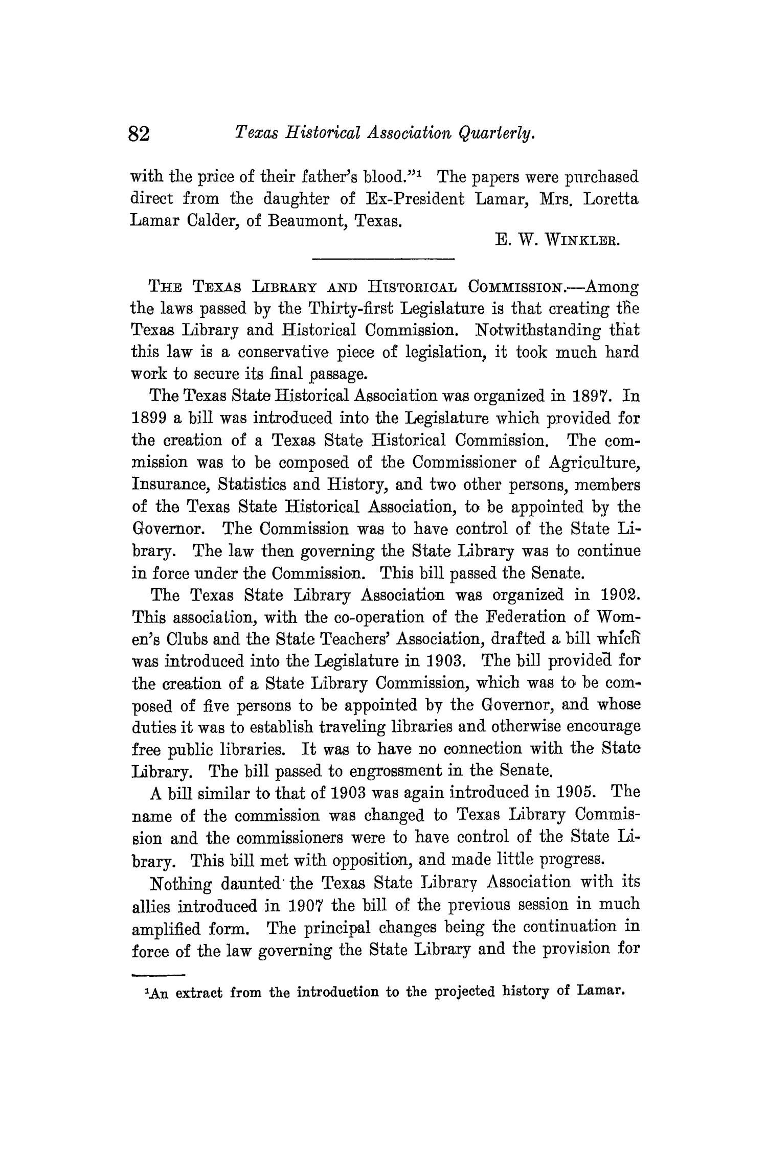 The Quarterly of the Texas State Historical Association, Volume 13, July 1909 - April, 1910                                                                                                      82