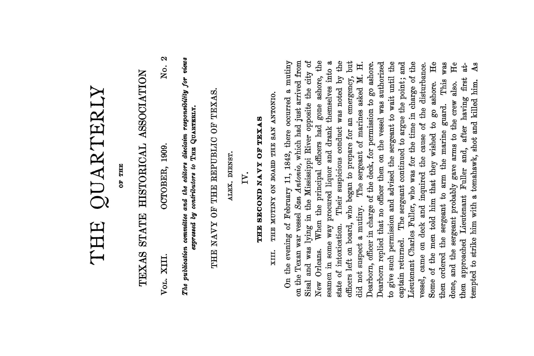 The Quarterly of the Texas State Historical Association, Volume 13, July 1909 - April, 1910                                                                                                      85