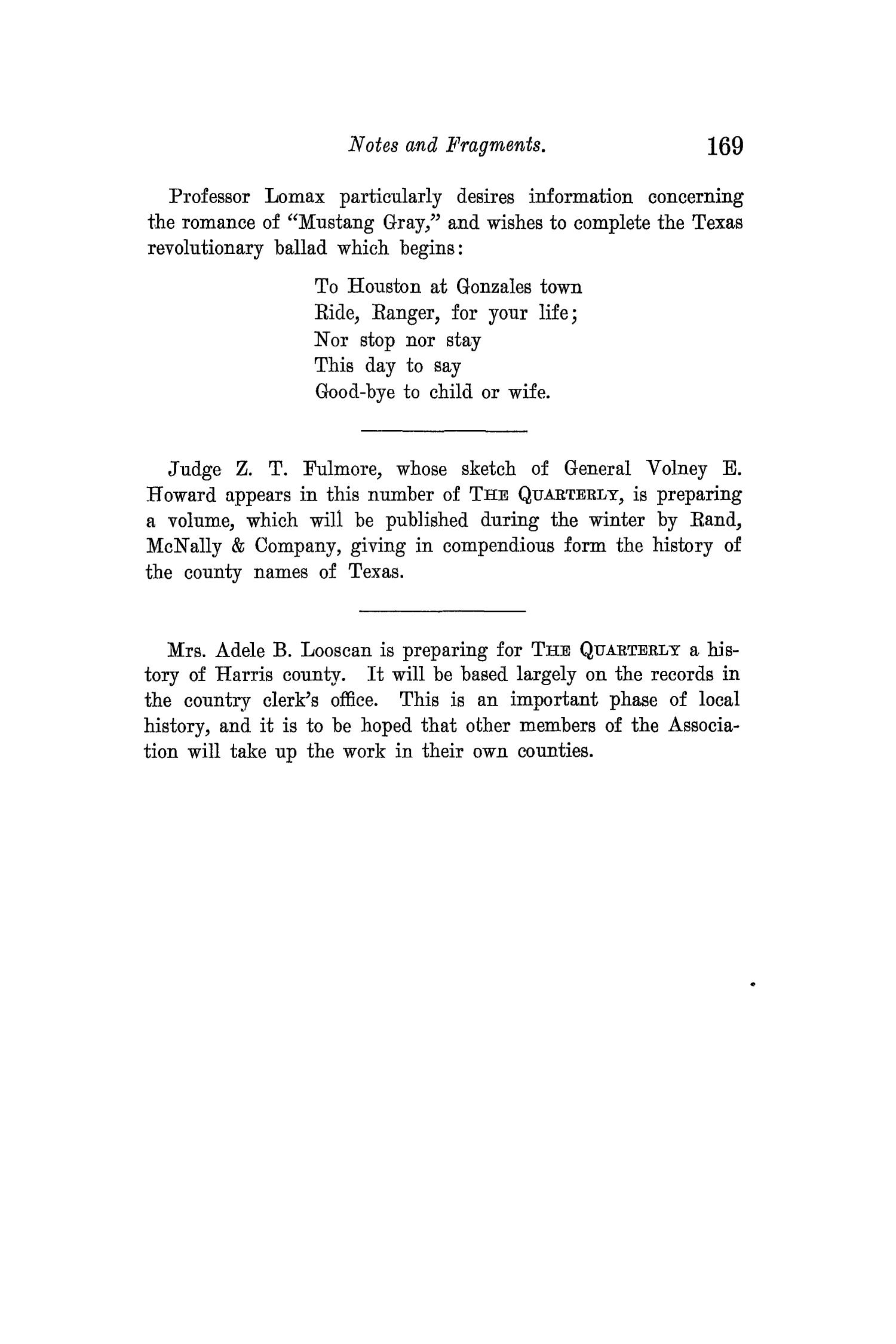 The Quarterly of the Texas State Historical Association, Volume 14, July 1910 - April, 1911                                                                                                      169