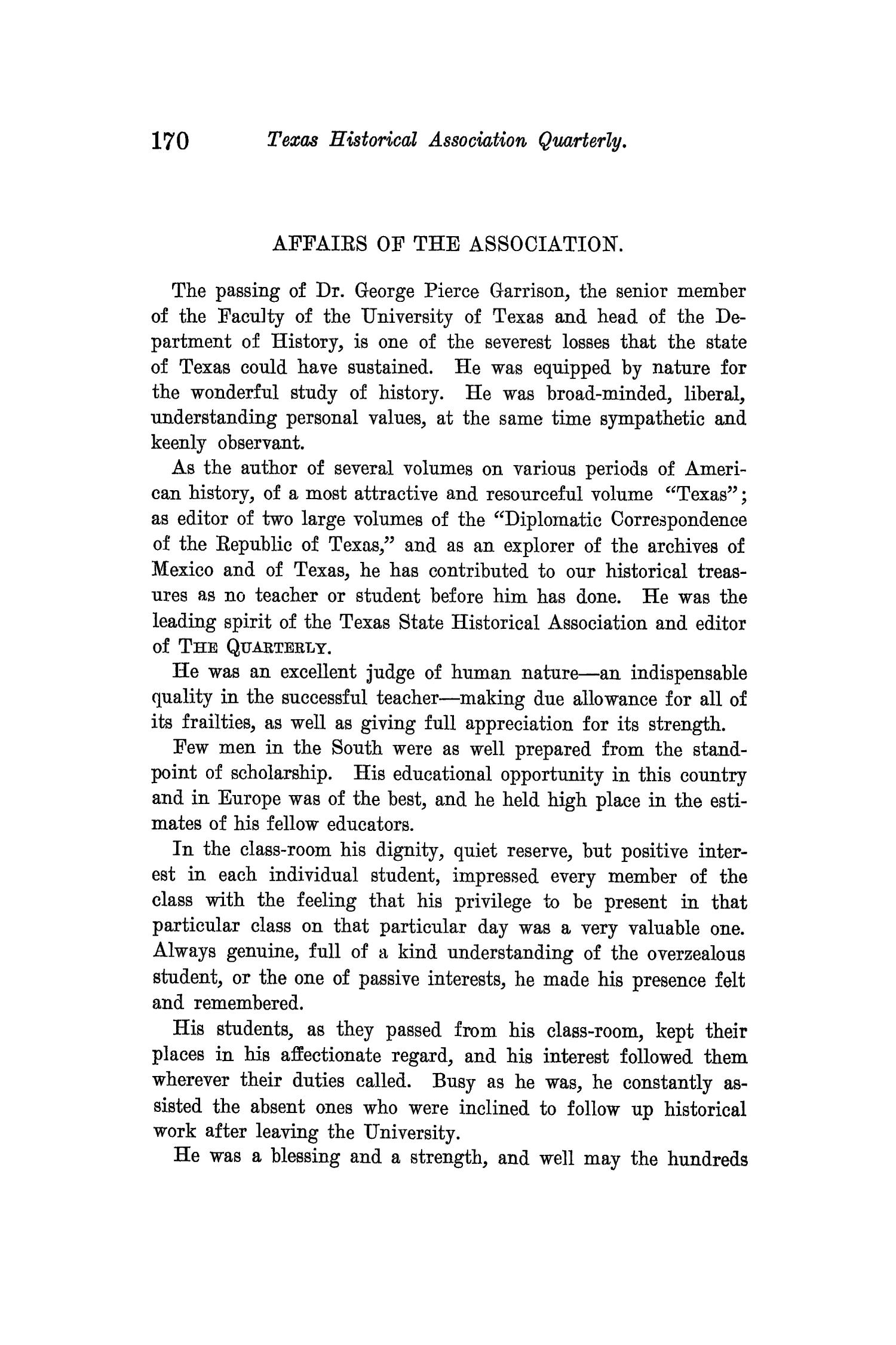 The Quarterly of the Texas State Historical Association, Volume 14, July 1910 - April, 1911                                                                                                      170