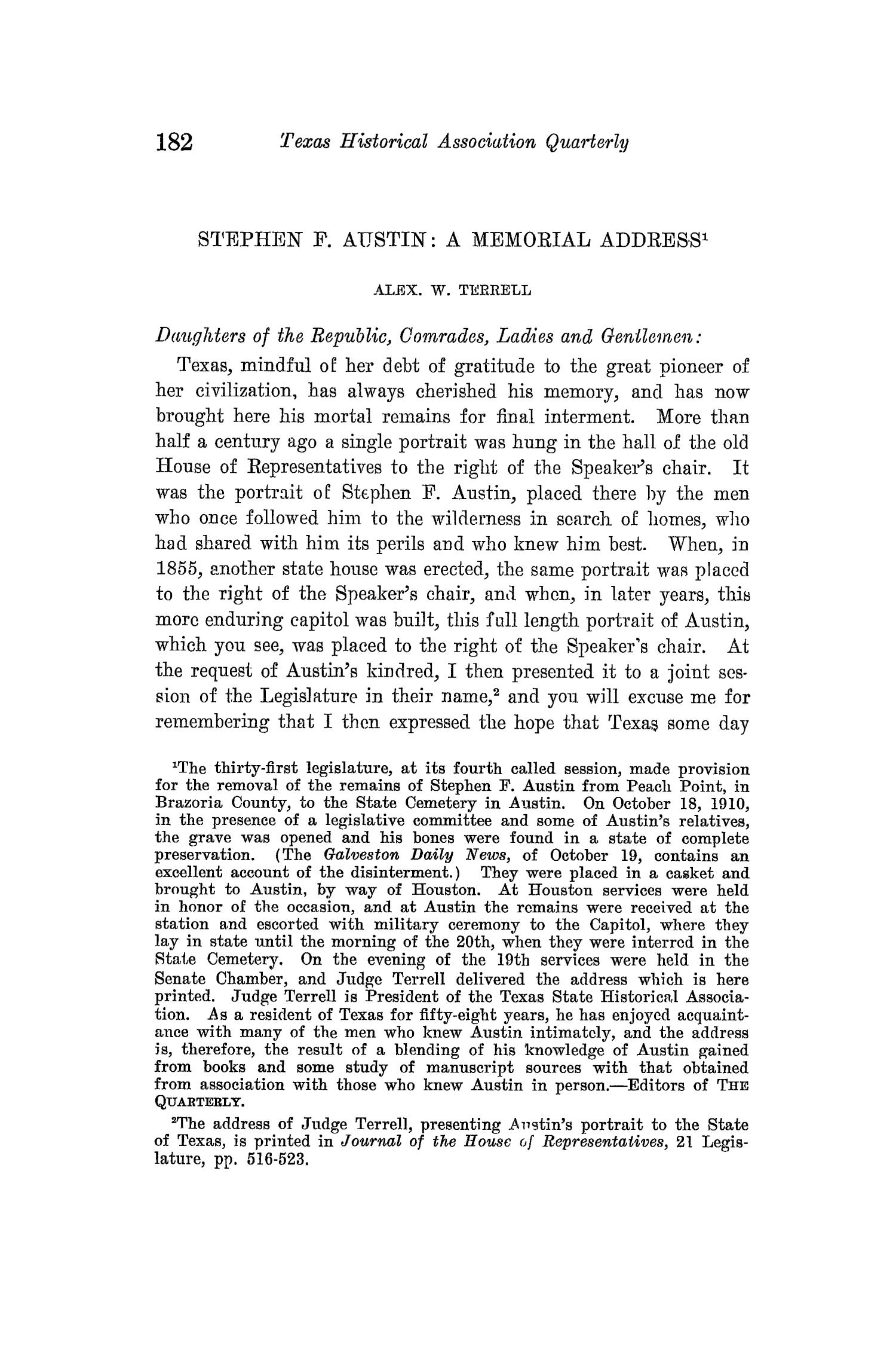 The Quarterly of the Texas State Historical Association, Volume 14, July 1910 - April, 1911                                                                                                      182