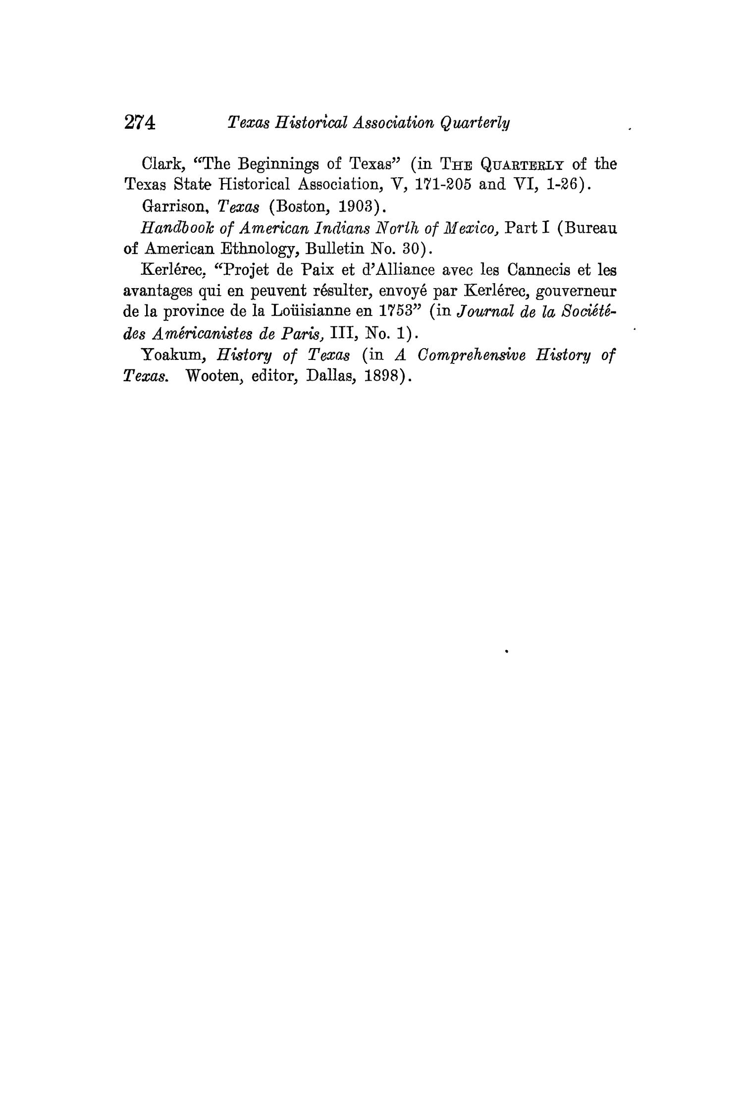 The Quarterly of the Texas State Historical Association, Volume 14, July 1910 - April, 1911                                                                                                      274