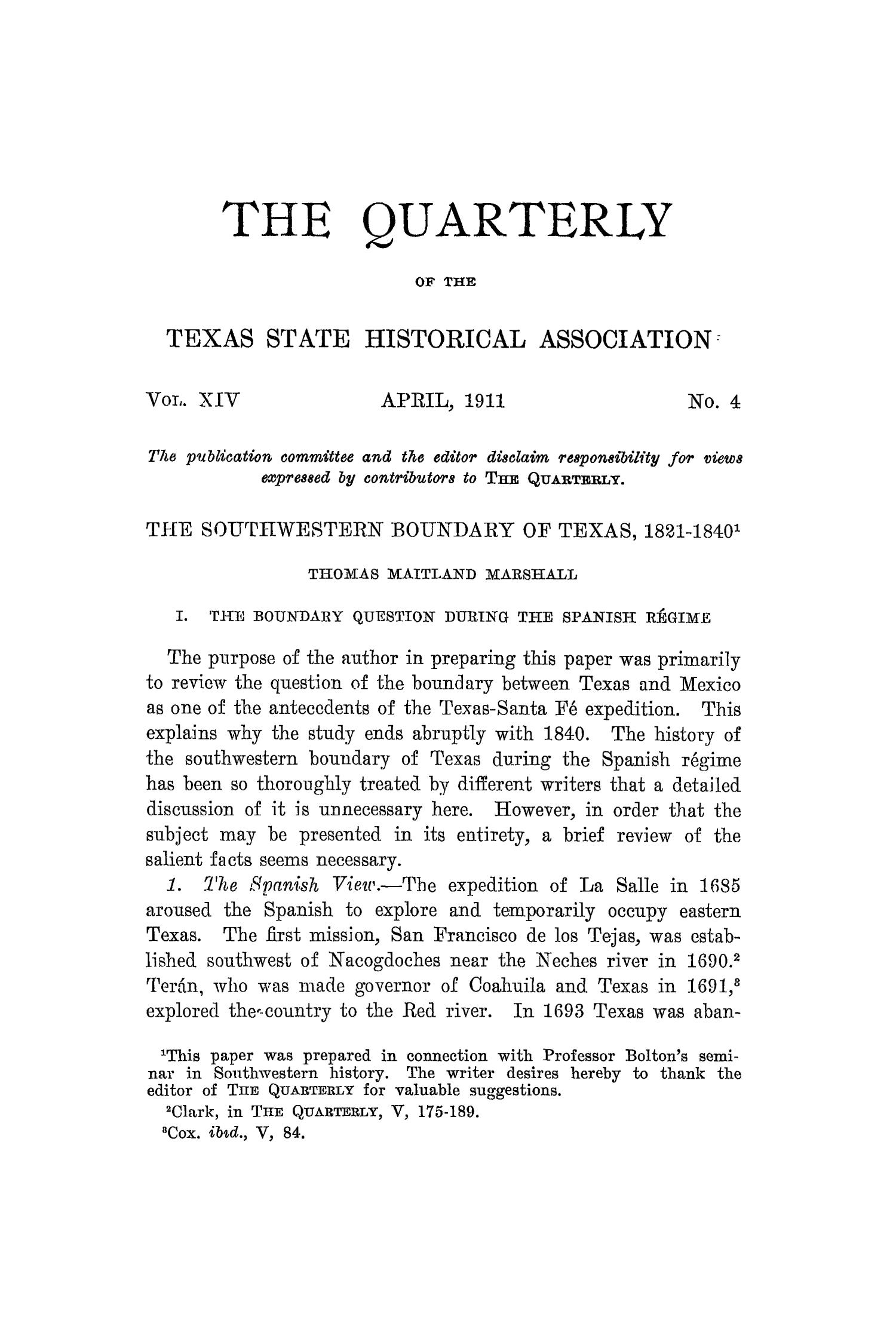 The Quarterly of the Texas State Historical Association, Volume 14, July 1910 - April, 1911                                                                                                      277