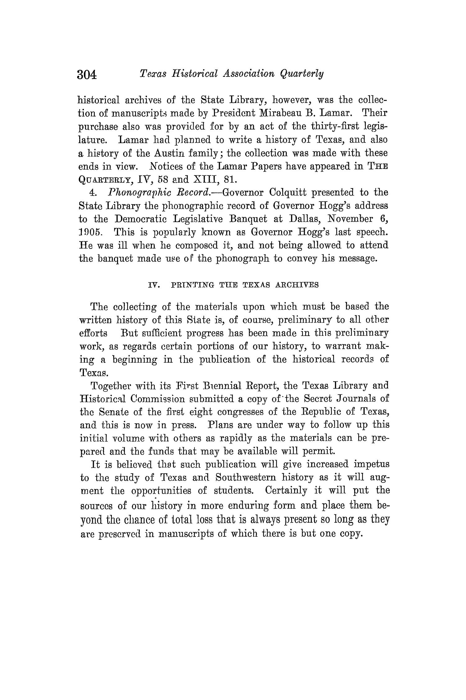 The Quarterly of the Texas State Historical Association, Volume 14, July 1910 - April, 1911                                                                                                      304