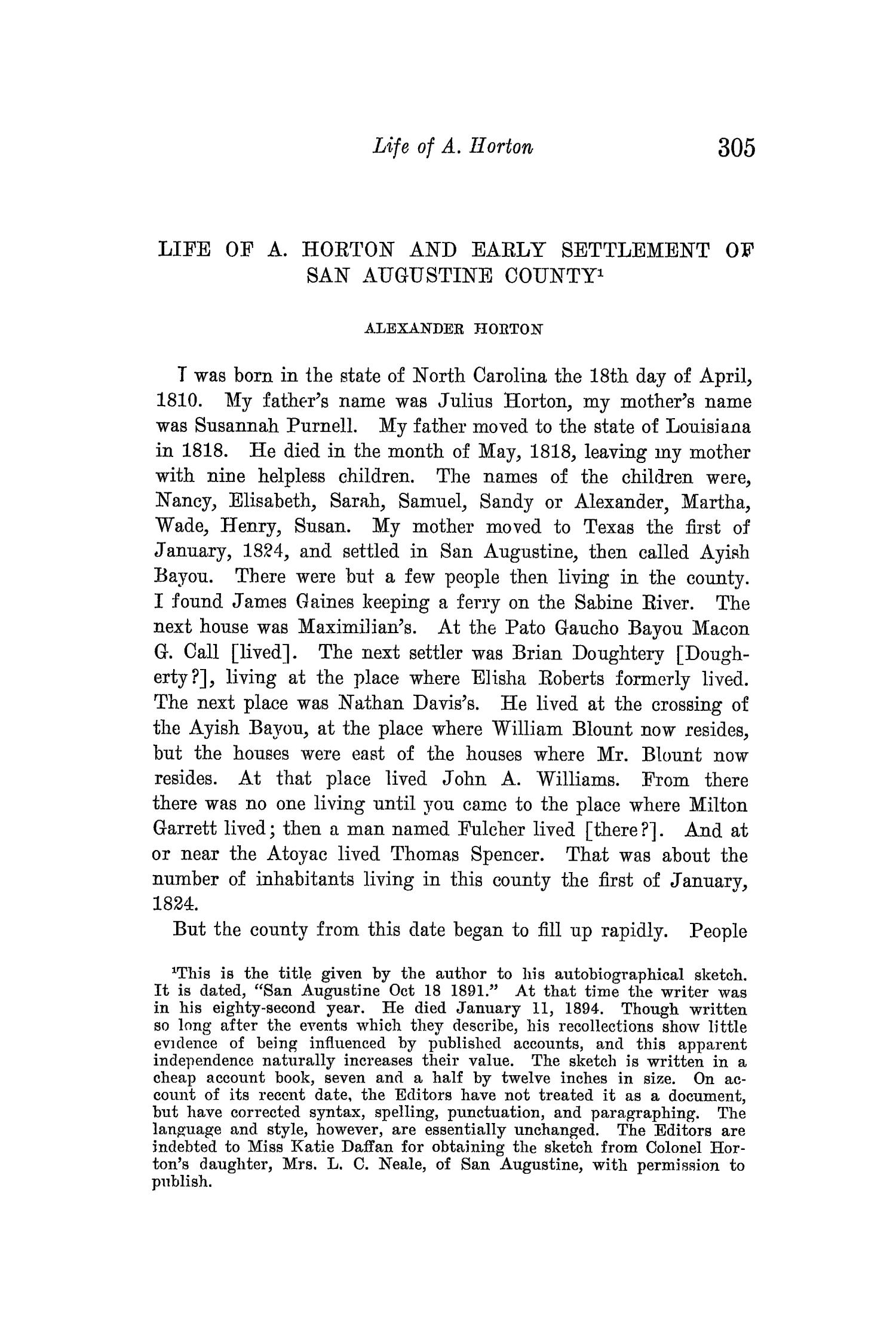 The Quarterly of the Texas State Historical Association, Volume 14, July 1910 - April, 1911                                                                                                      305