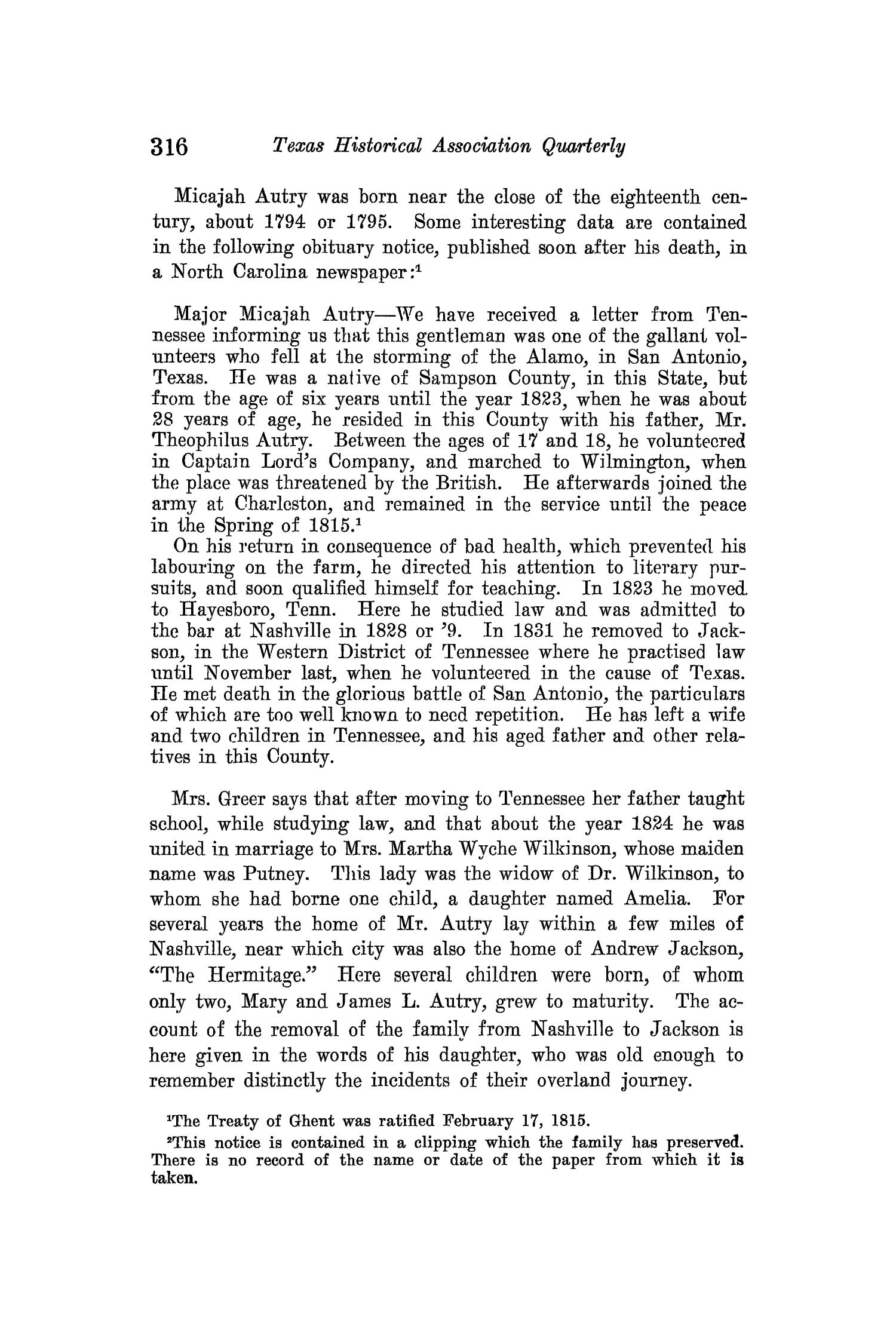 The Quarterly of the Texas State Historical Association, Volume 14, July 1910 - April, 1911                                                                                                      316