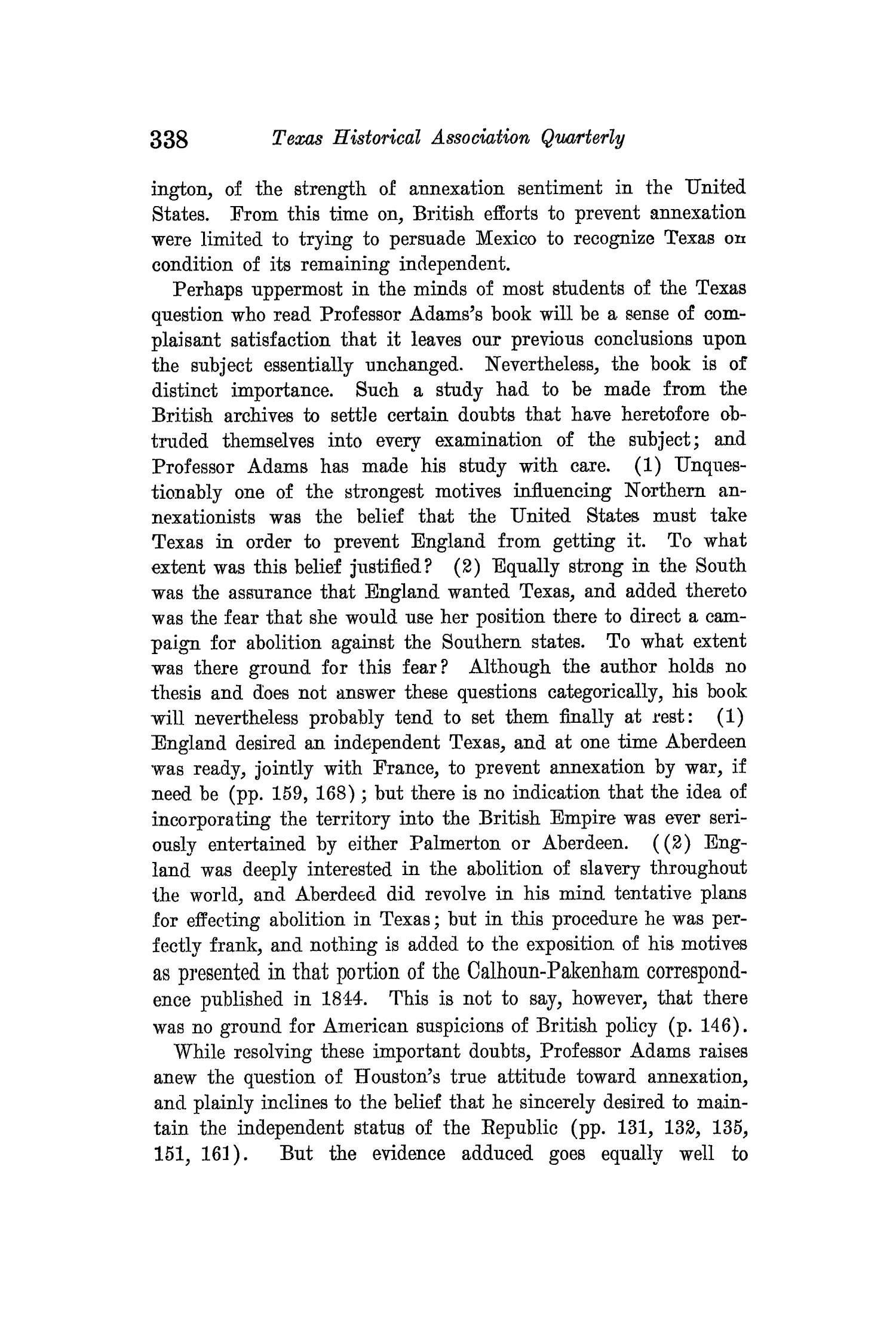 The Quarterly of the Texas State Historical Association, Volume 14, July 1910 - April, 1911                                                                                                      338