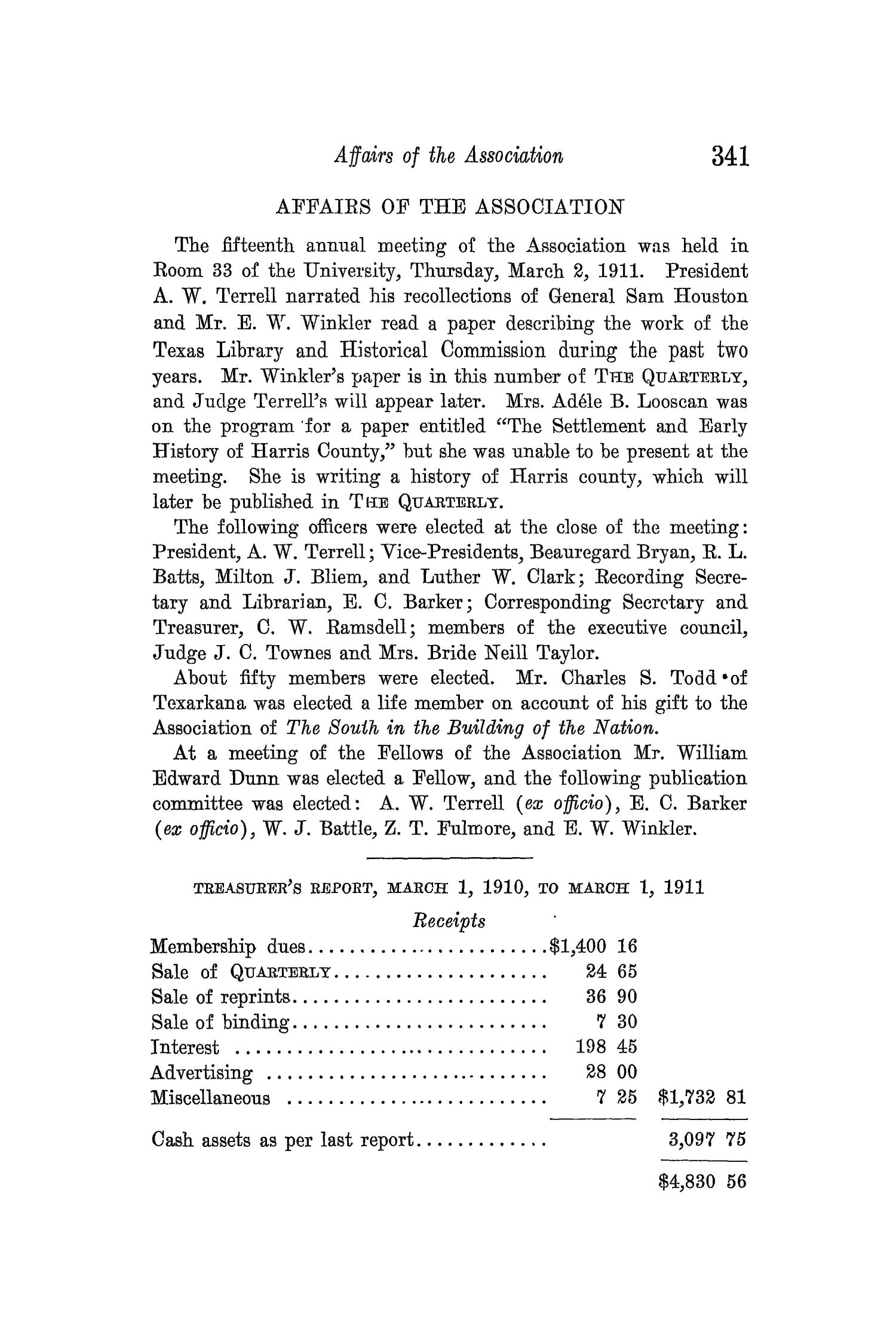 The Quarterly of the Texas State Historical Association, Volume 14, July 1910 - April, 1911                                                                                                      341