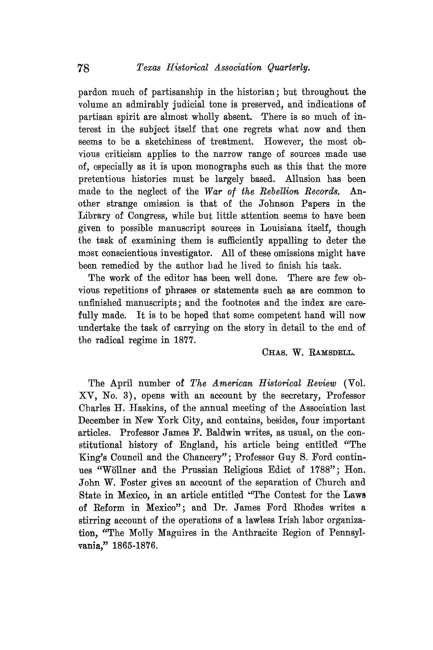 The Quarterly of the Texas State Historical Association, Volume 14, July 1910 - April, 1911                                                                                                      78