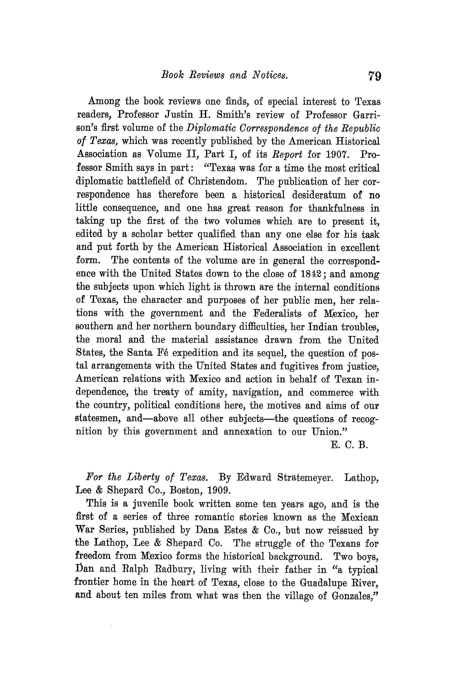 The Quarterly of the Texas State Historical Association, Volume 14, July 1910 - April, 1911                                                                                                      79