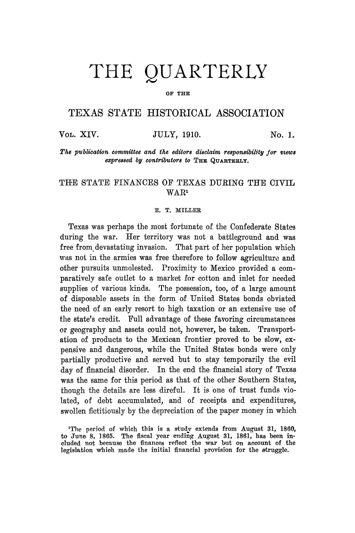 The Quarterly of the Texas State Historical Association, Volume 14, July 1910 - April, 1911                                                                                                      1