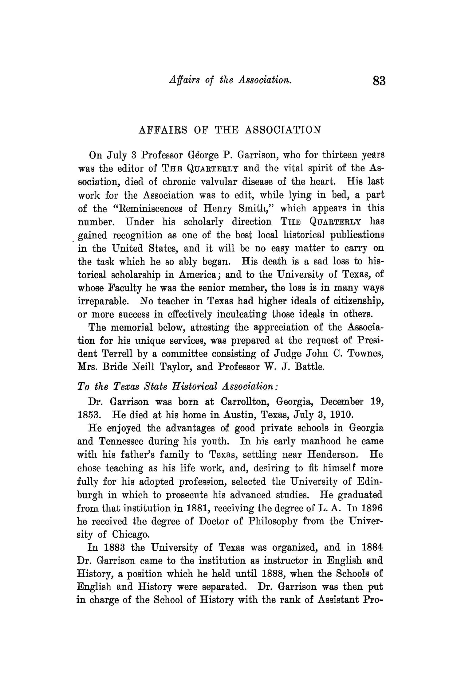 The Quarterly of the Texas State Historical Association, Volume 14, July 1910 - April, 1911                                                                                                      83