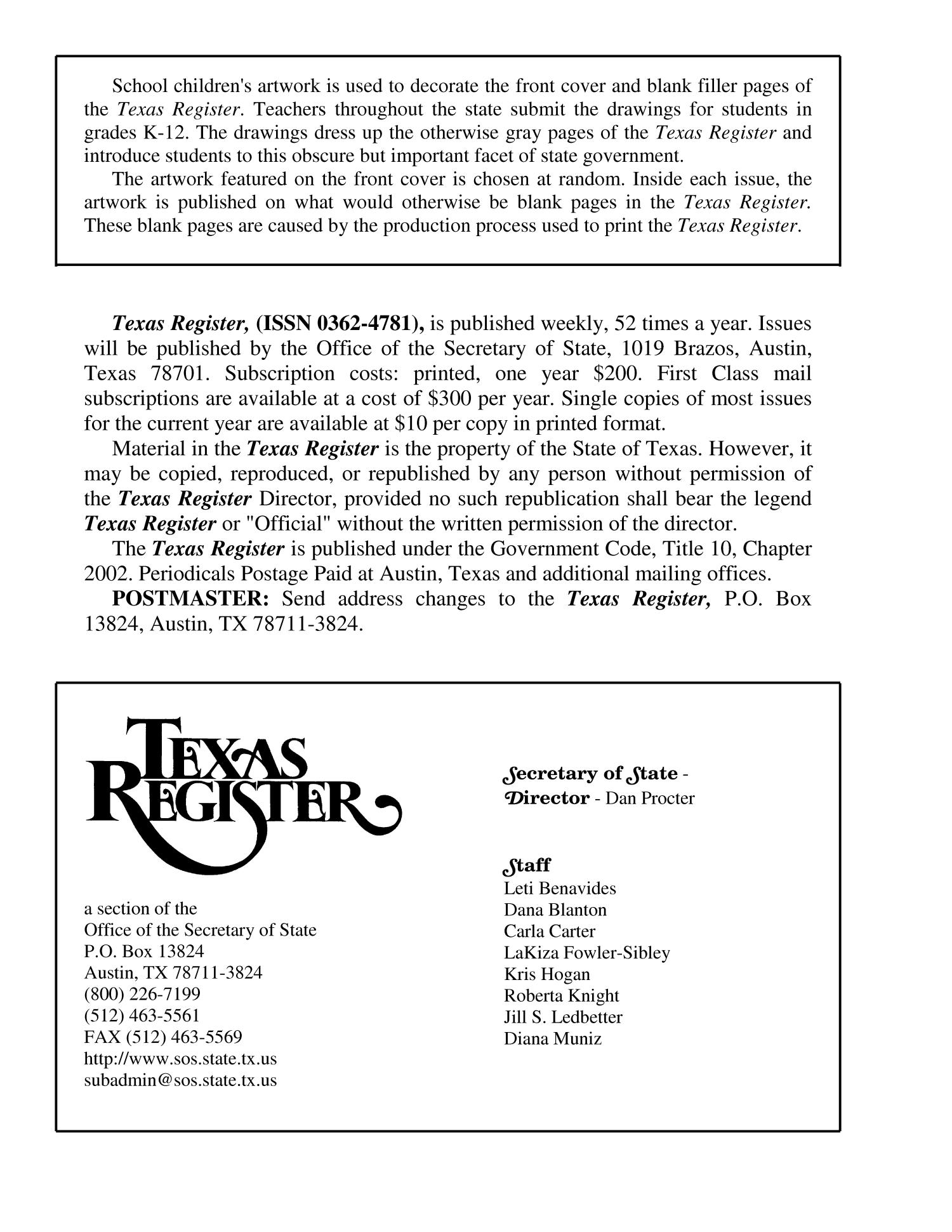 Texas Register, Volume 28, Number 33, Pages 6397-6614, August 15, 2003                                                                                                      6398