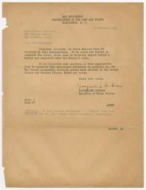 Primary view of object titled '[Letter from Jacqueline Cochran to Eleanor McLernon, February 17, 1944]'.