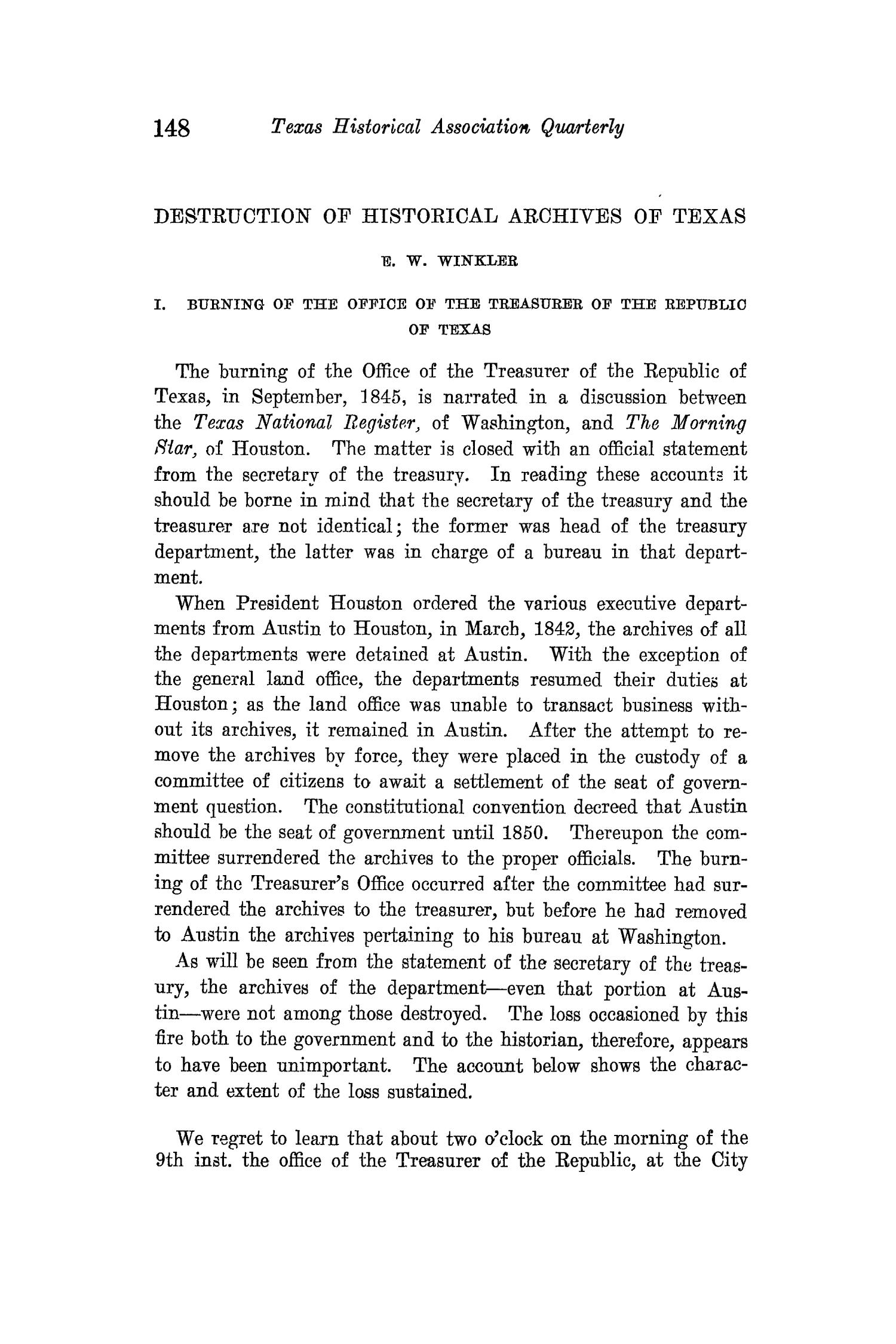 The Quarterly of the Texas State Historical Association, Volume 15, July 1911 - April, 1912                                                                                                      148