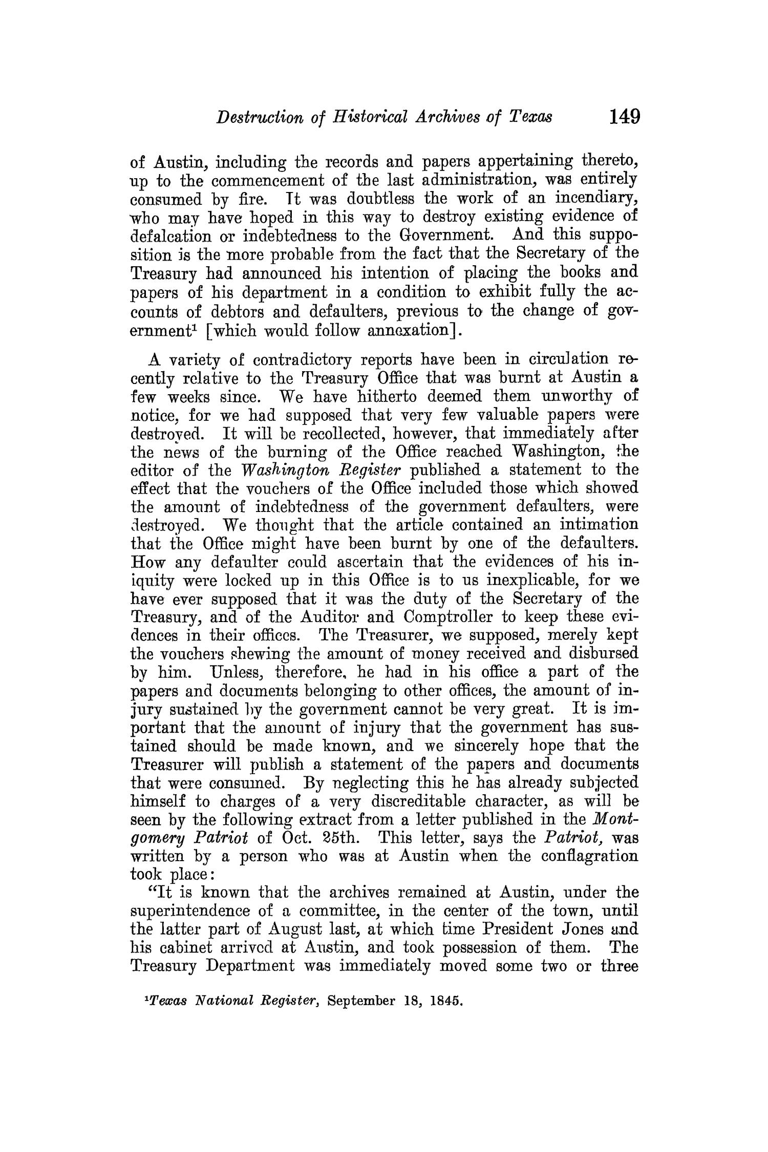 The Quarterly of the Texas State Historical Association, Volume 15, July 1911 - April, 1912                                                                                                      149