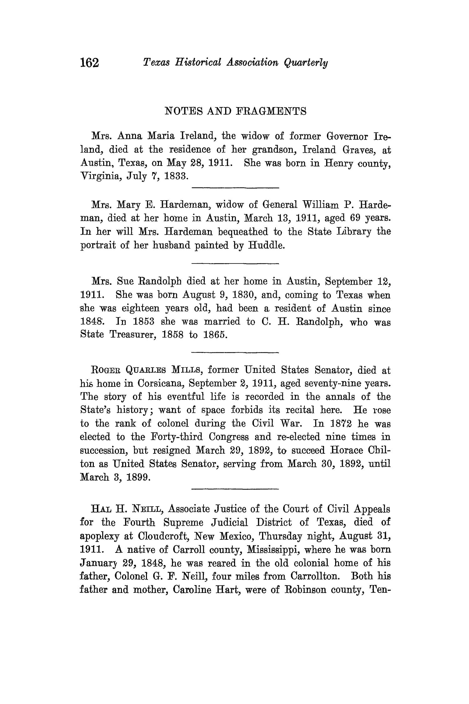 The Quarterly of the Texas State Historical Association, Volume 15, July 1911 - April, 1912                                                                                                      162