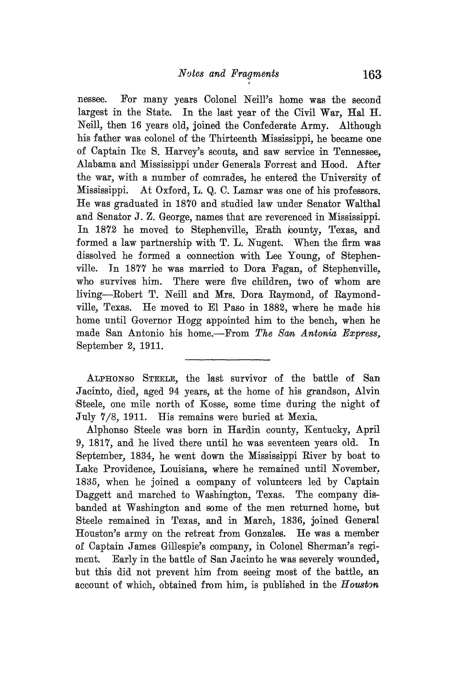 The Quarterly of the Texas State Historical Association, Volume 15, July 1911 - April, 1912                                                                                                      163