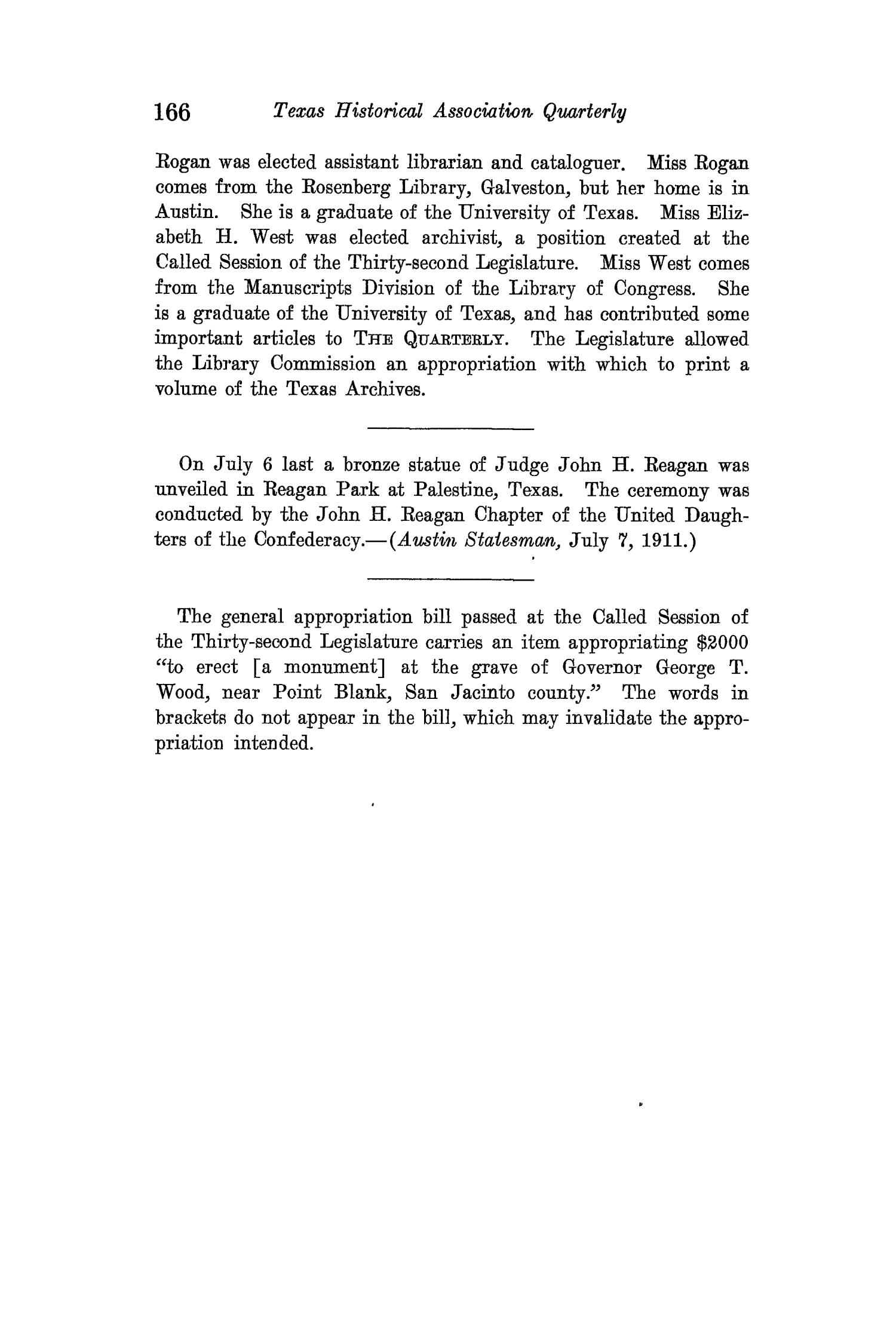 The Quarterly of the Texas State Historical Association, Volume 15, July 1911 - April, 1912                                                                                                      166