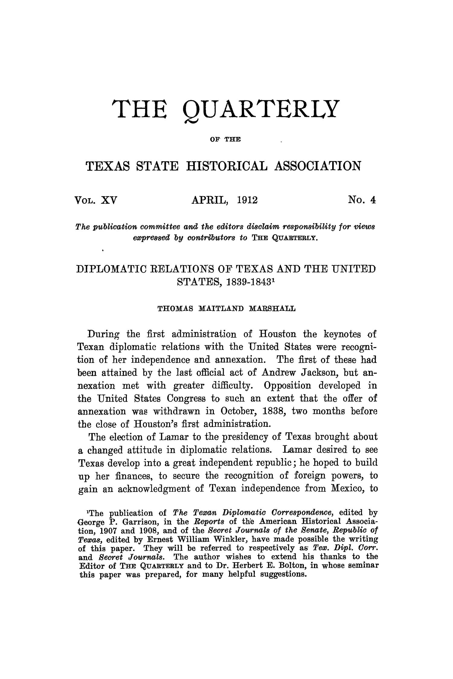 The Quarterly of the Texas State Historical Association, Volume 15, July 1911 - April, 1912                                                                                                      267