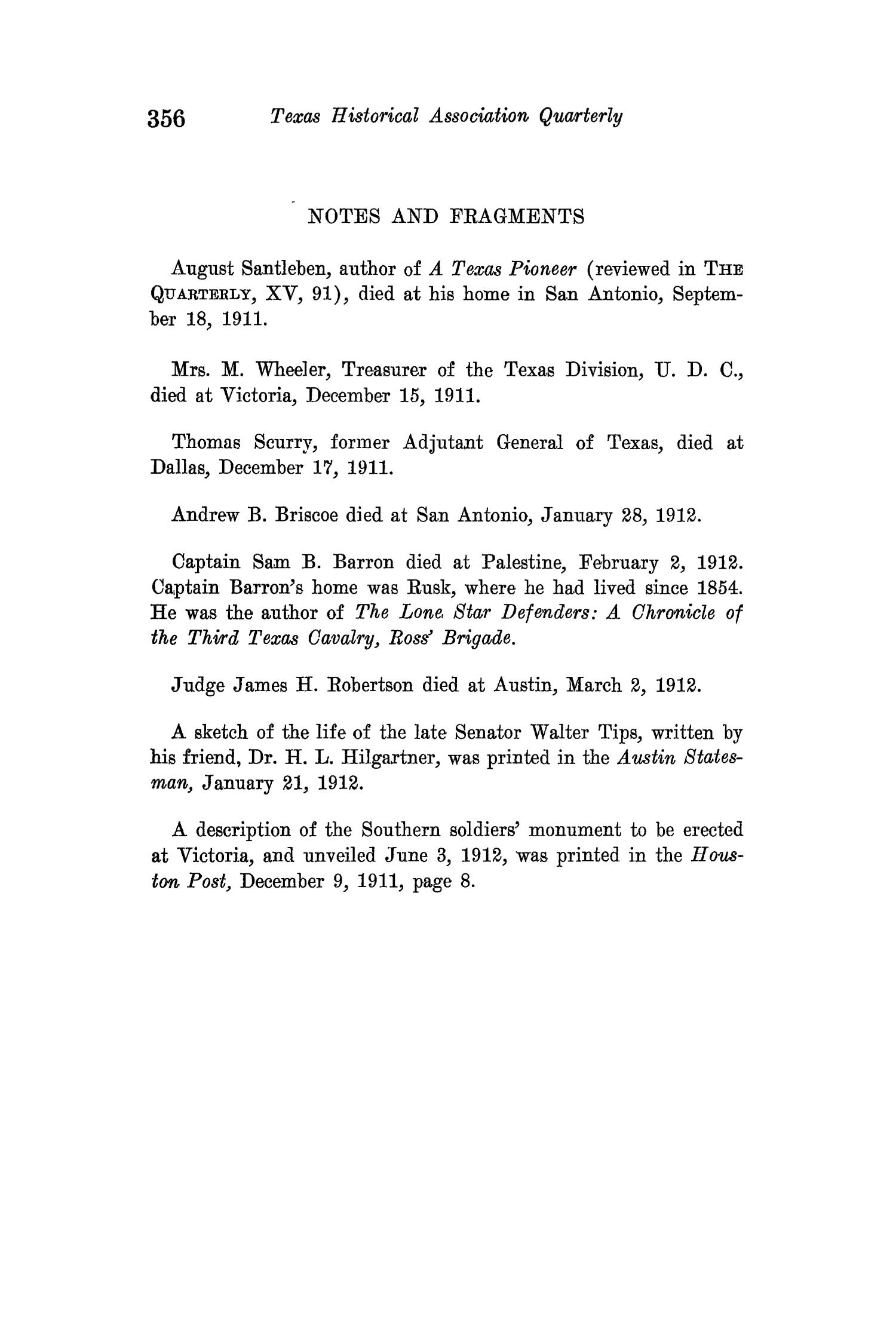 The Quarterly of the Texas State Historical Association, Volume 15, July 1911 - April, 1912                                                                                                      356