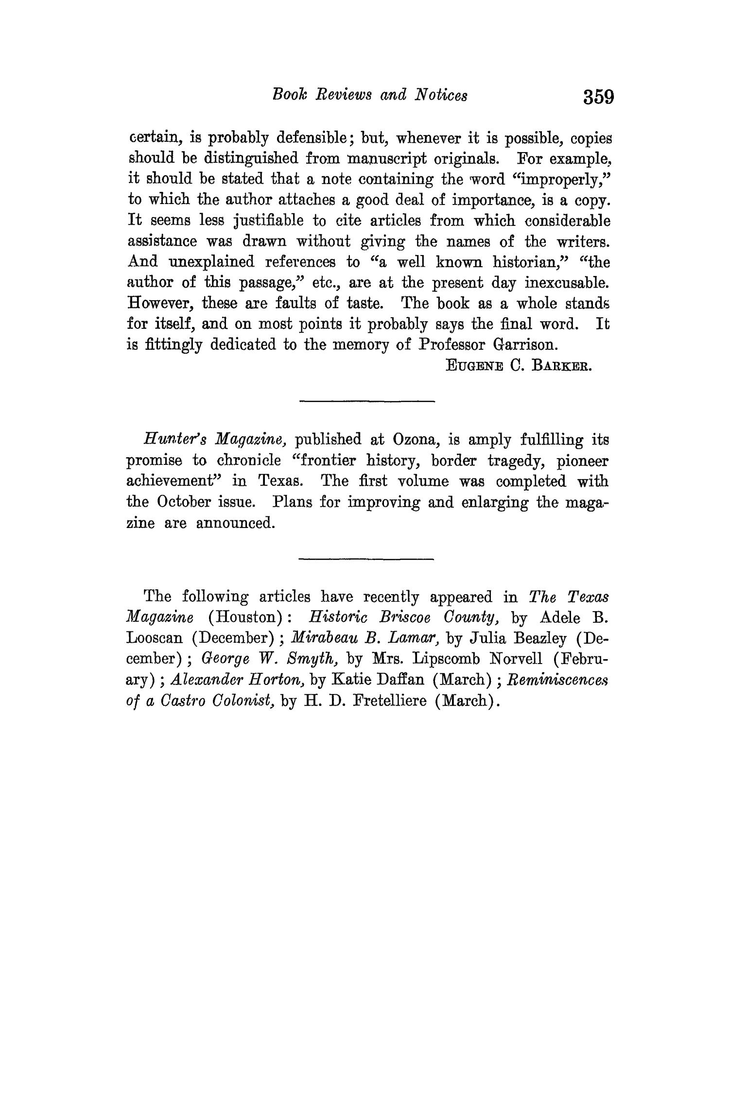 The Quarterly of the Texas State Historical Association, Volume 15, July 1911 - April, 1912                                                                                                      359