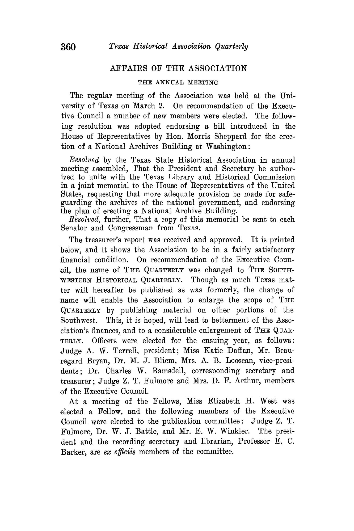 The Quarterly of the Texas State Historical Association, Volume 15, July 1911 - April, 1912                                                                                                      360