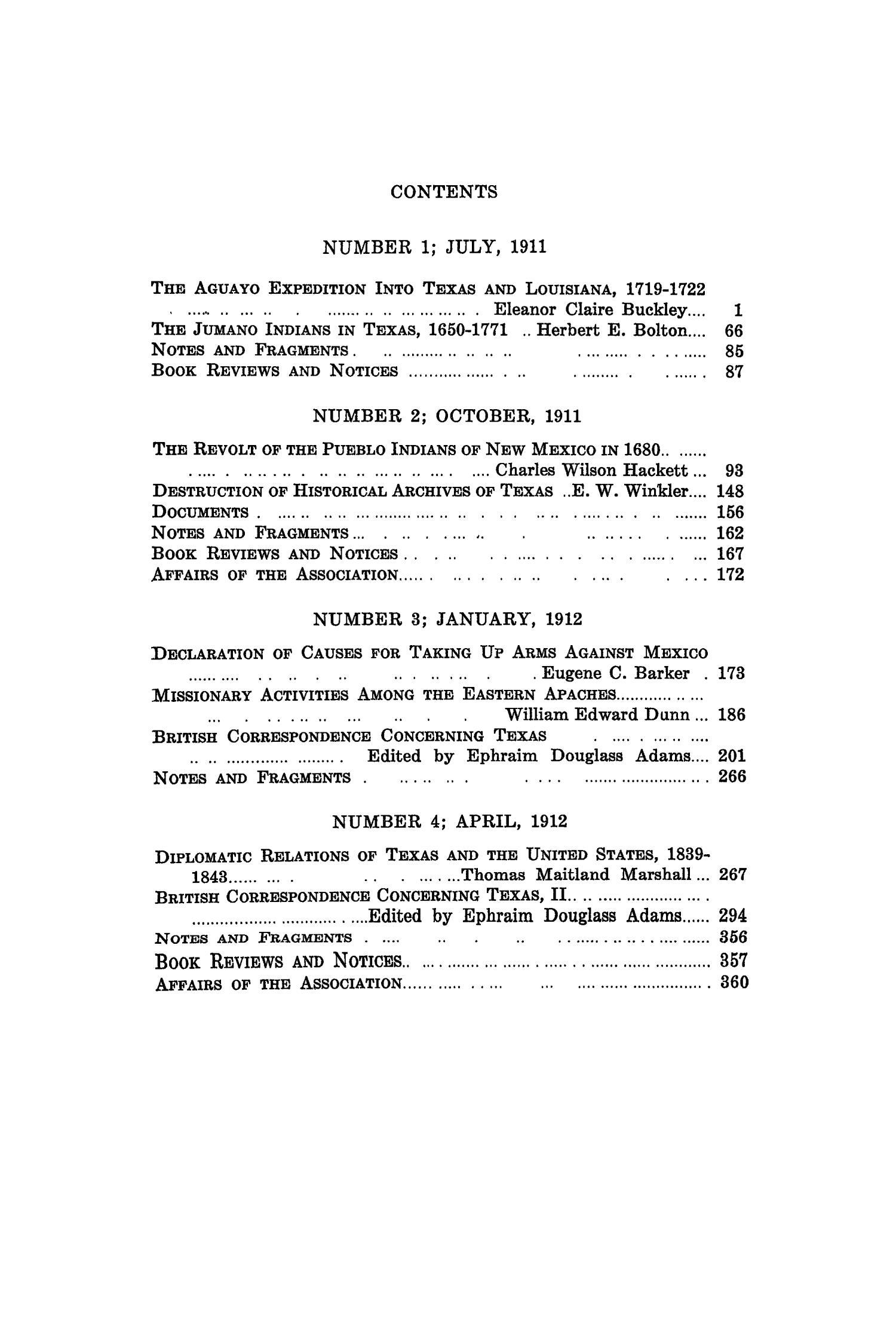 The Quarterly of the Texas State Historical Association, Volume 15, July 1911 - April, 1912                                                                                                      None