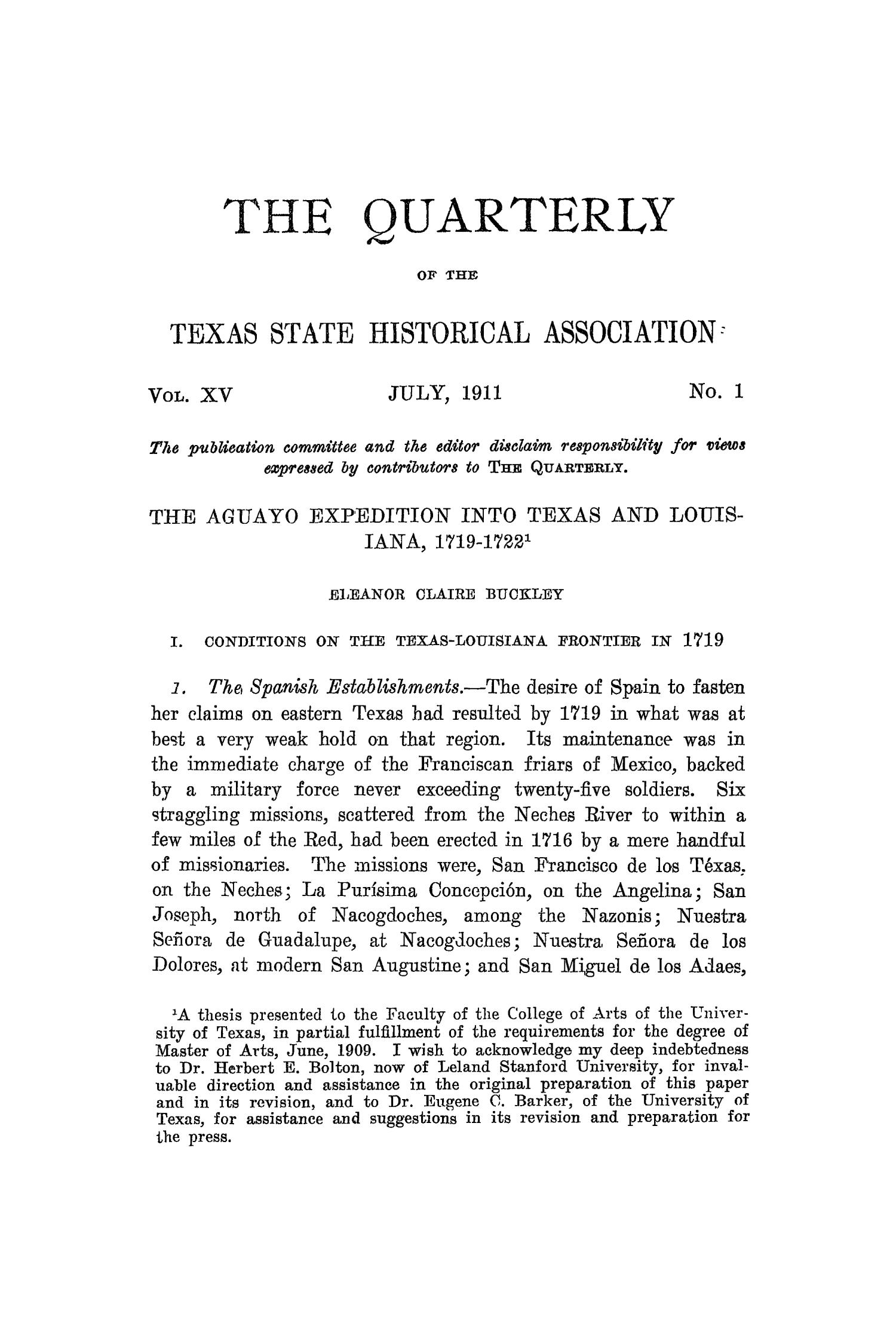 The Quarterly of the Texas State Historical Association, Volume 15, July 1911 - April, 1912                                                                                                      1