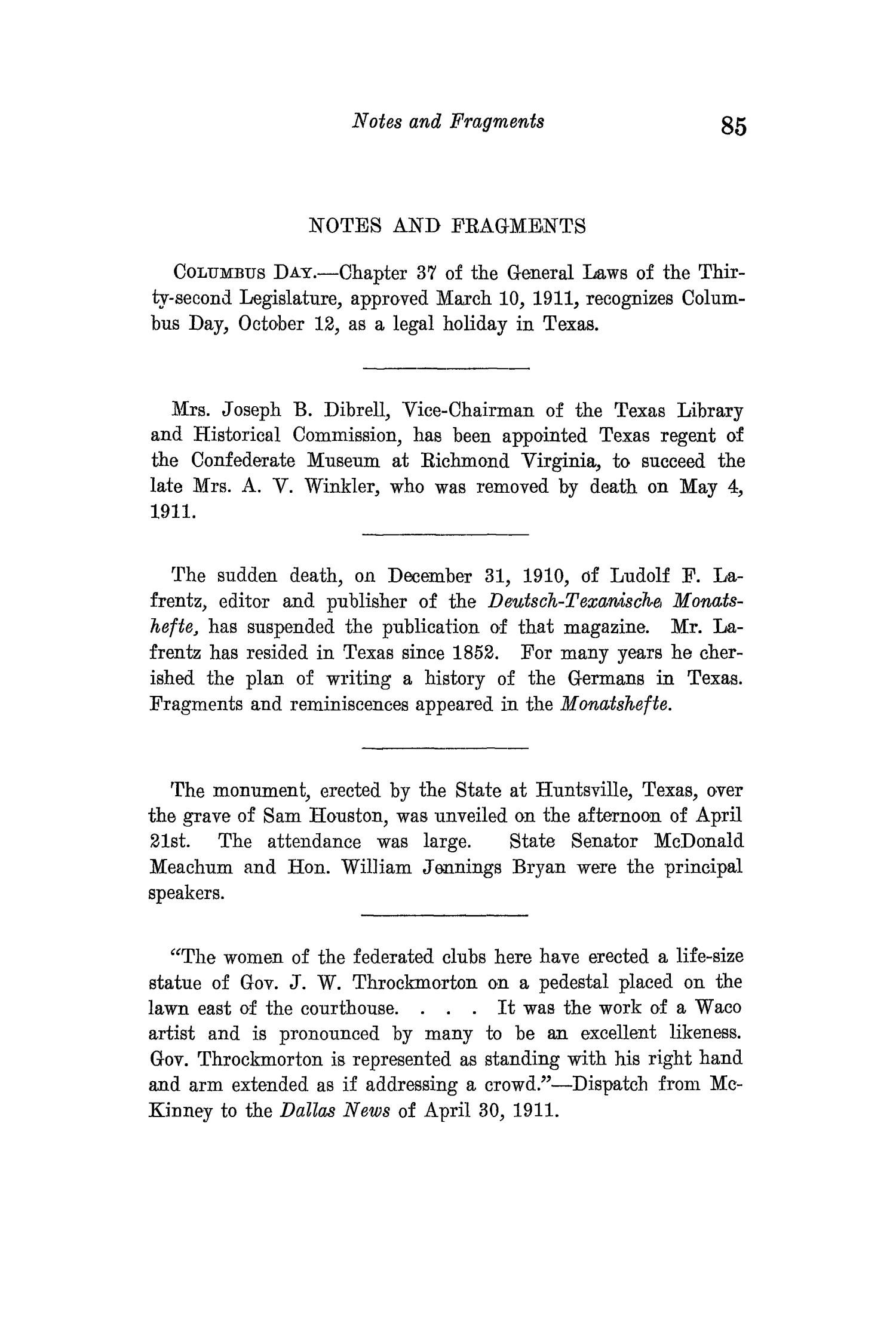 The Quarterly of the Texas State Historical Association, Volume 15, July 1911 - April, 1912                                                                                                      85