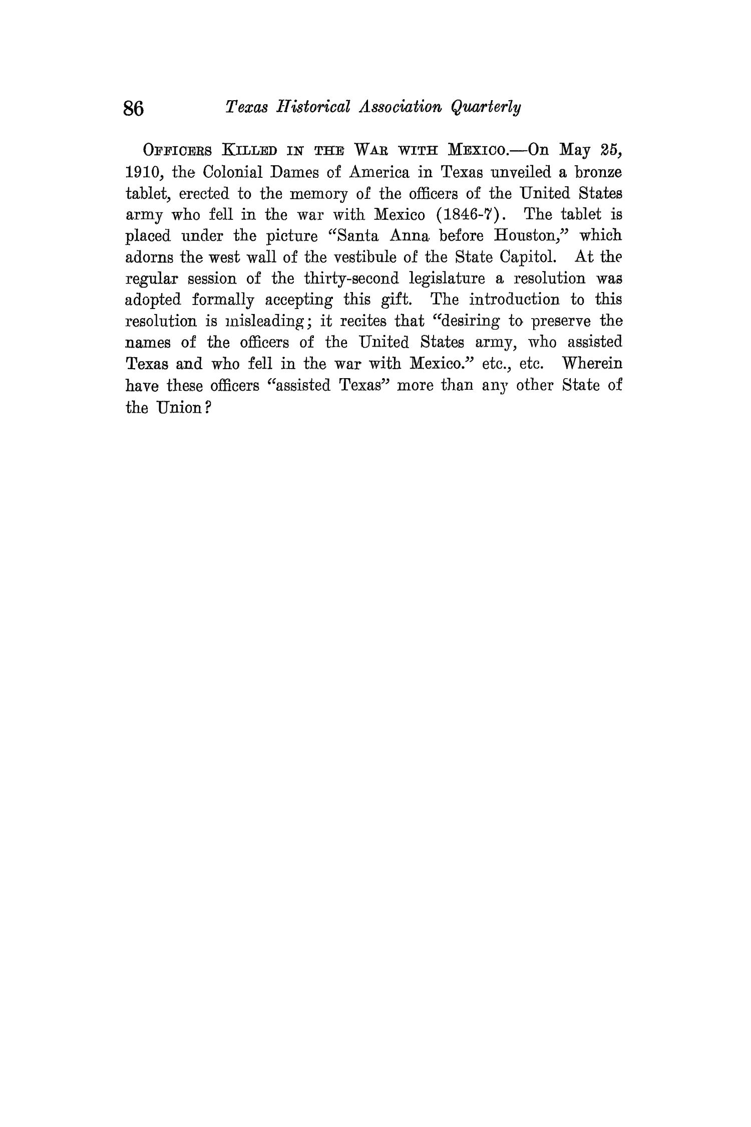 The Quarterly of the Texas State Historical Association, Volume 15, July 1911 - April, 1912                                                                                                      86