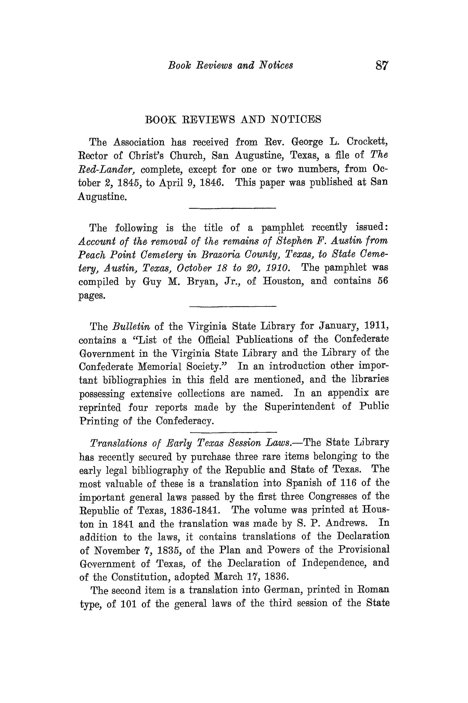 The Quarterly of the Texas State Historical Association, Volume 15, July 1911 - April, 1912                                                                                                      87