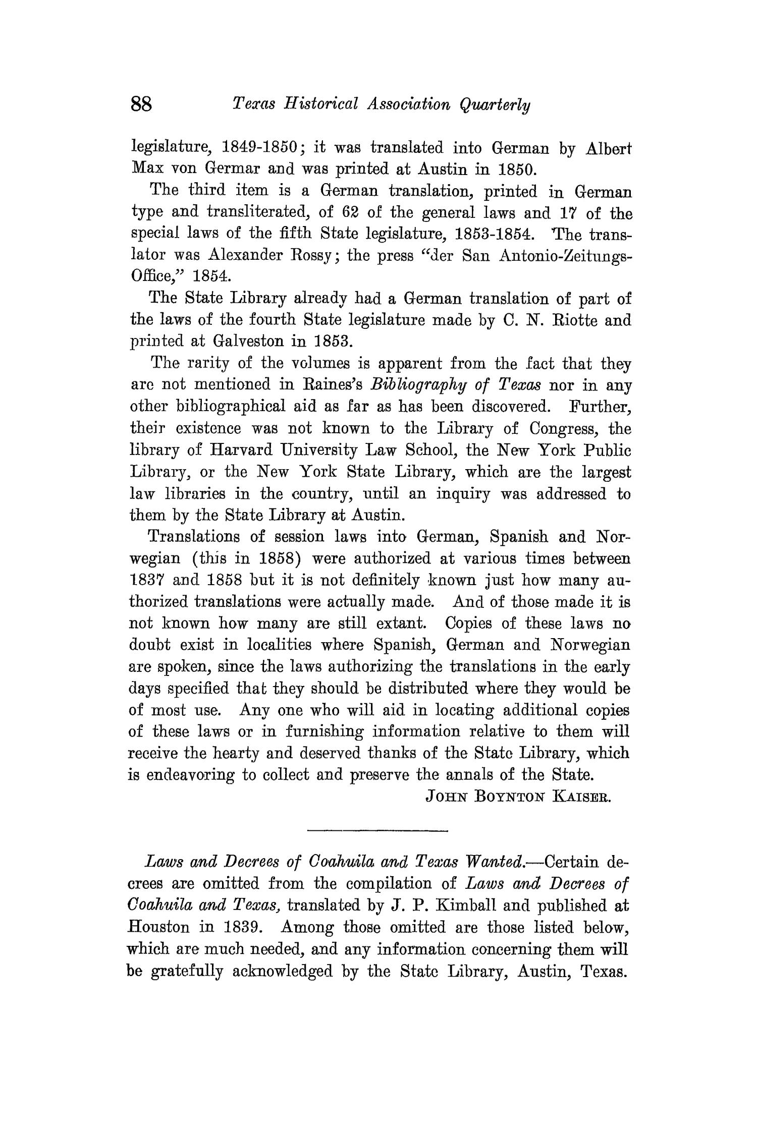 The Quarterly of the Texas State Historical Association, Volume 15, July 1911 - April, 1912                                                                                                      88