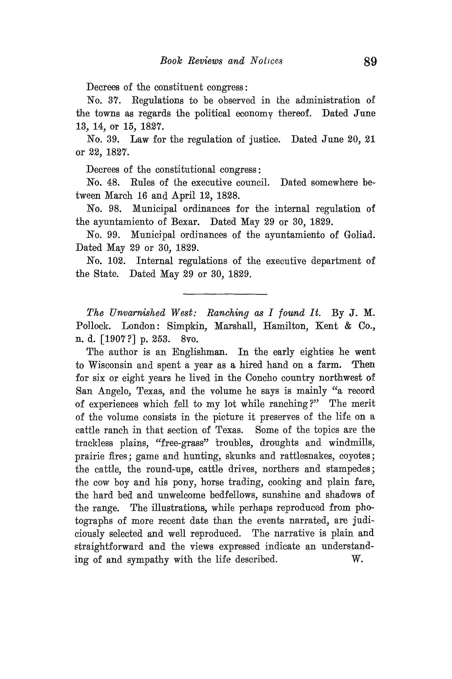 The Quarterly of the Texas State Historical Association, Volume 15, July 1911 - April, 1912                                                                                                      89