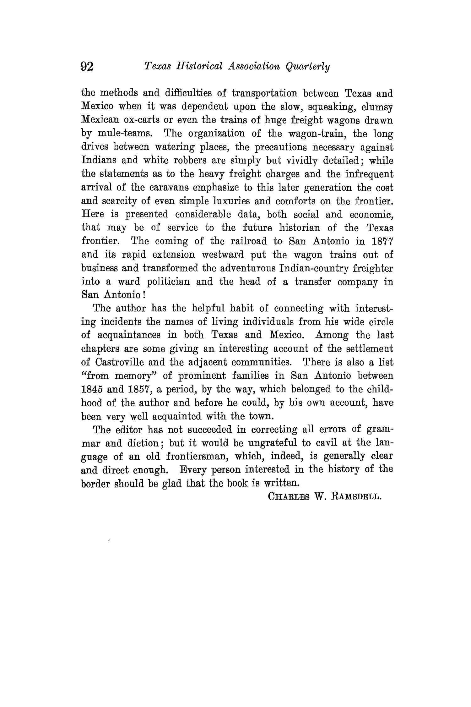The Quarterly of the Texas State Historical Association, Volume 15, July 1911 - April, 1912                                                                                                      92