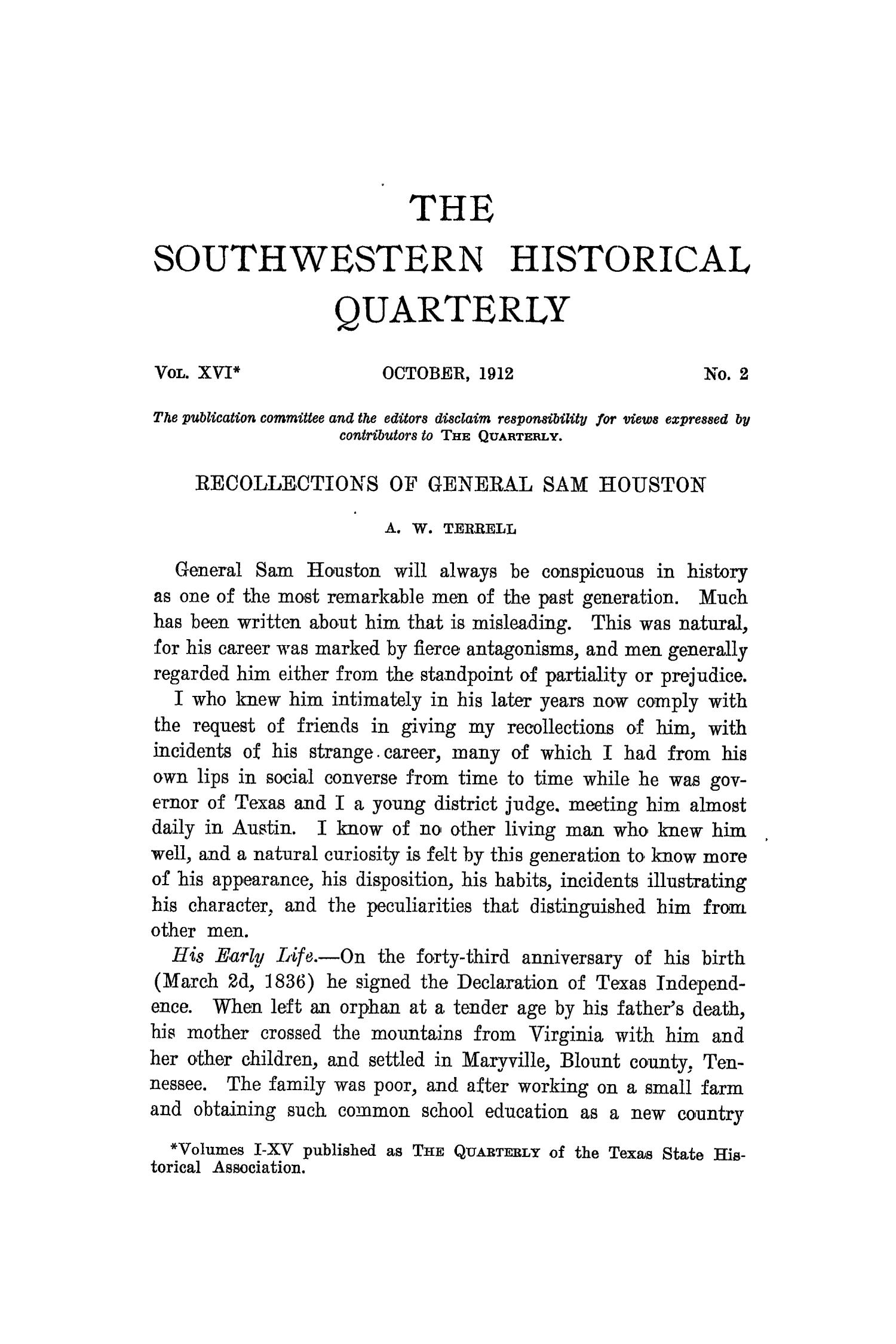 The Southwestern Historical Quarterly, Volume 16, July 1912 - April, 1913                                                                                                      113